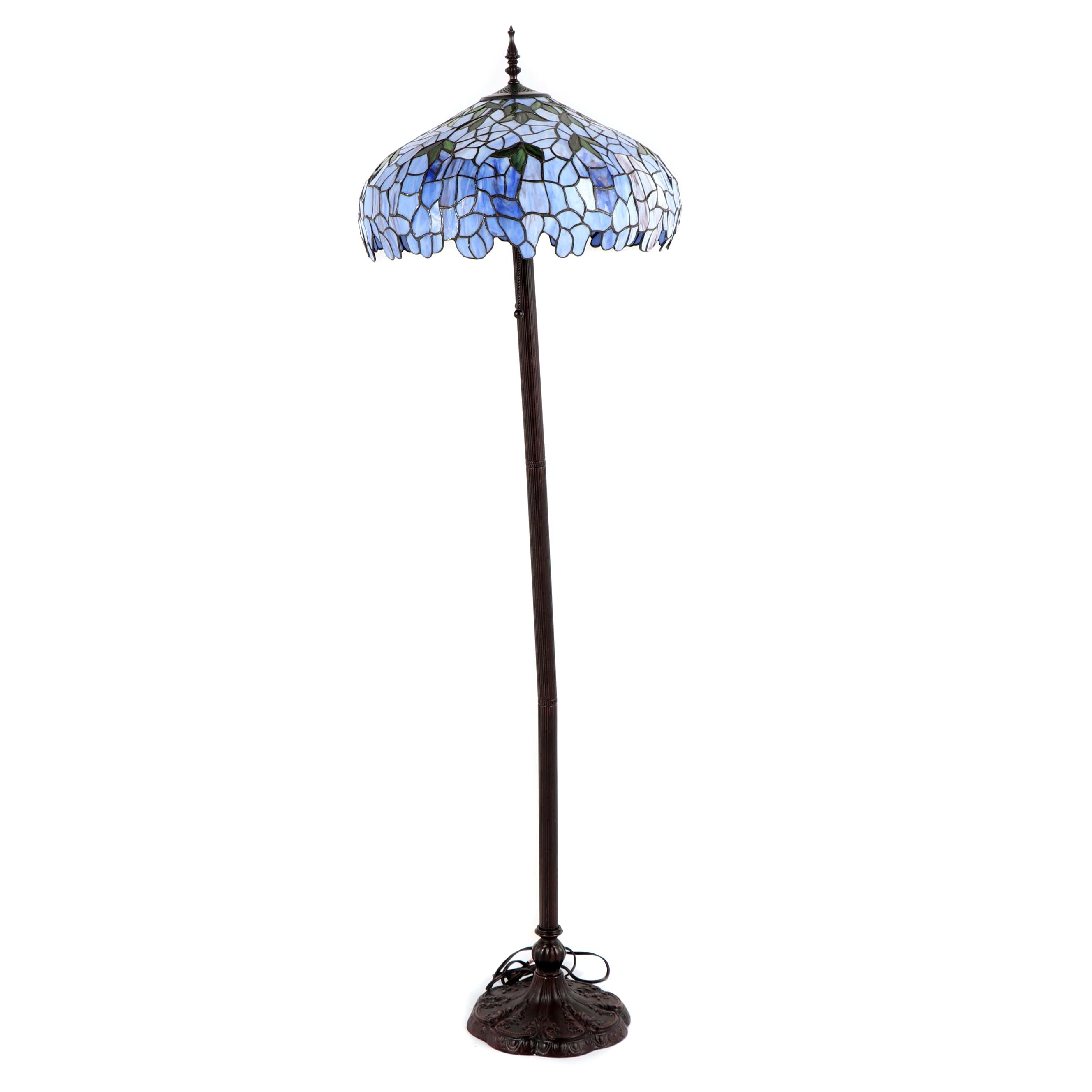 Contemporary Stained and Slag Glass Floor Lamp