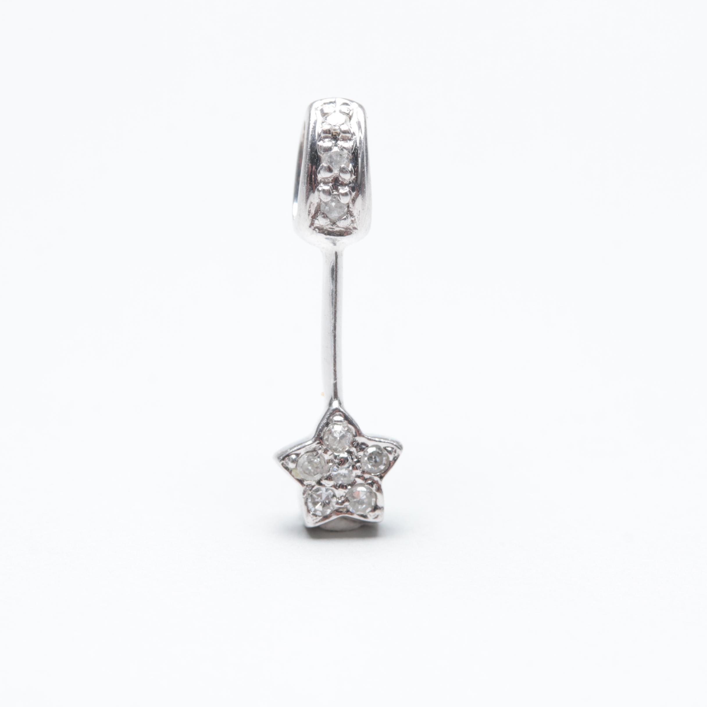 14K White Gold Diamond Star Pendant