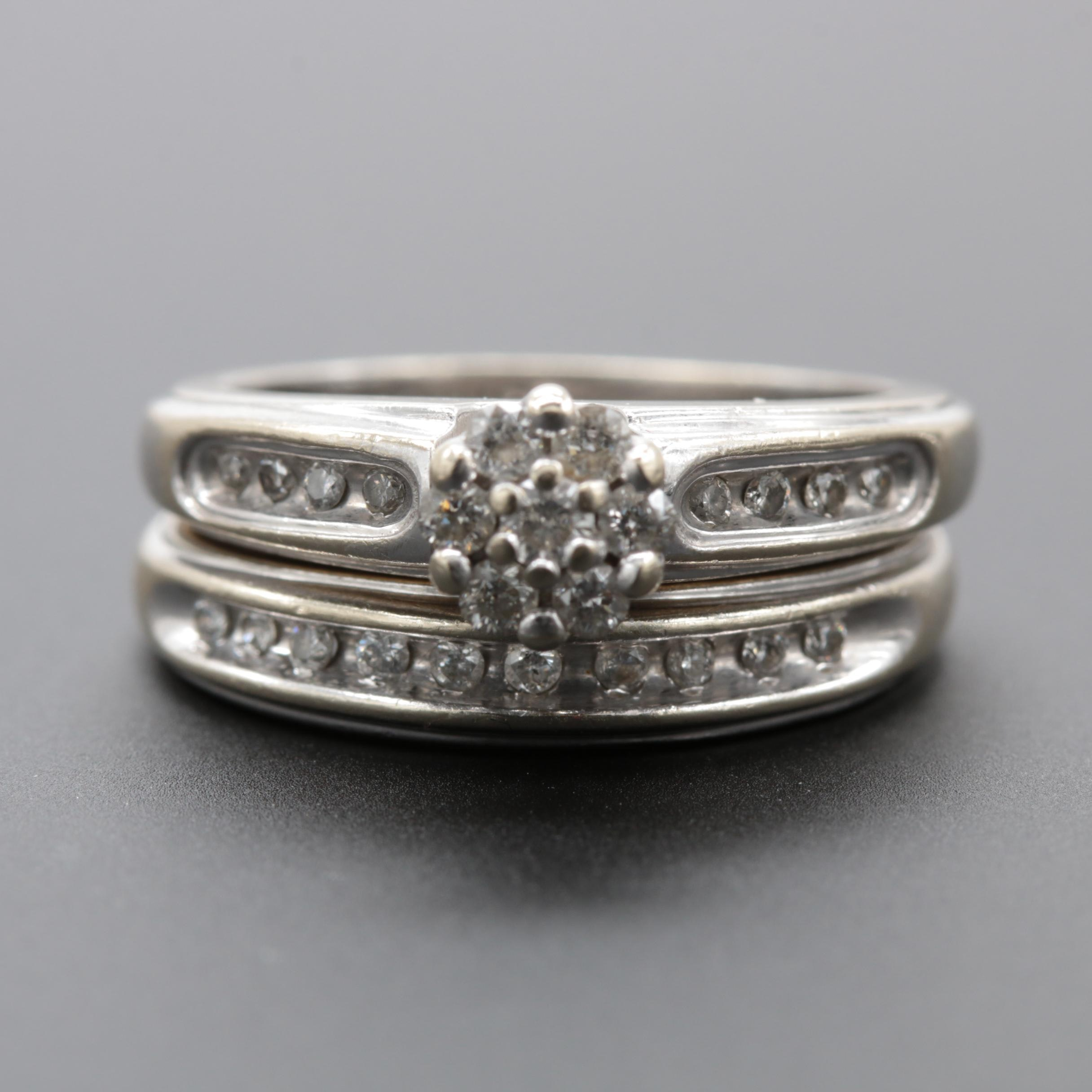 Keepsake 14K White Gold Diamond Bridal Set