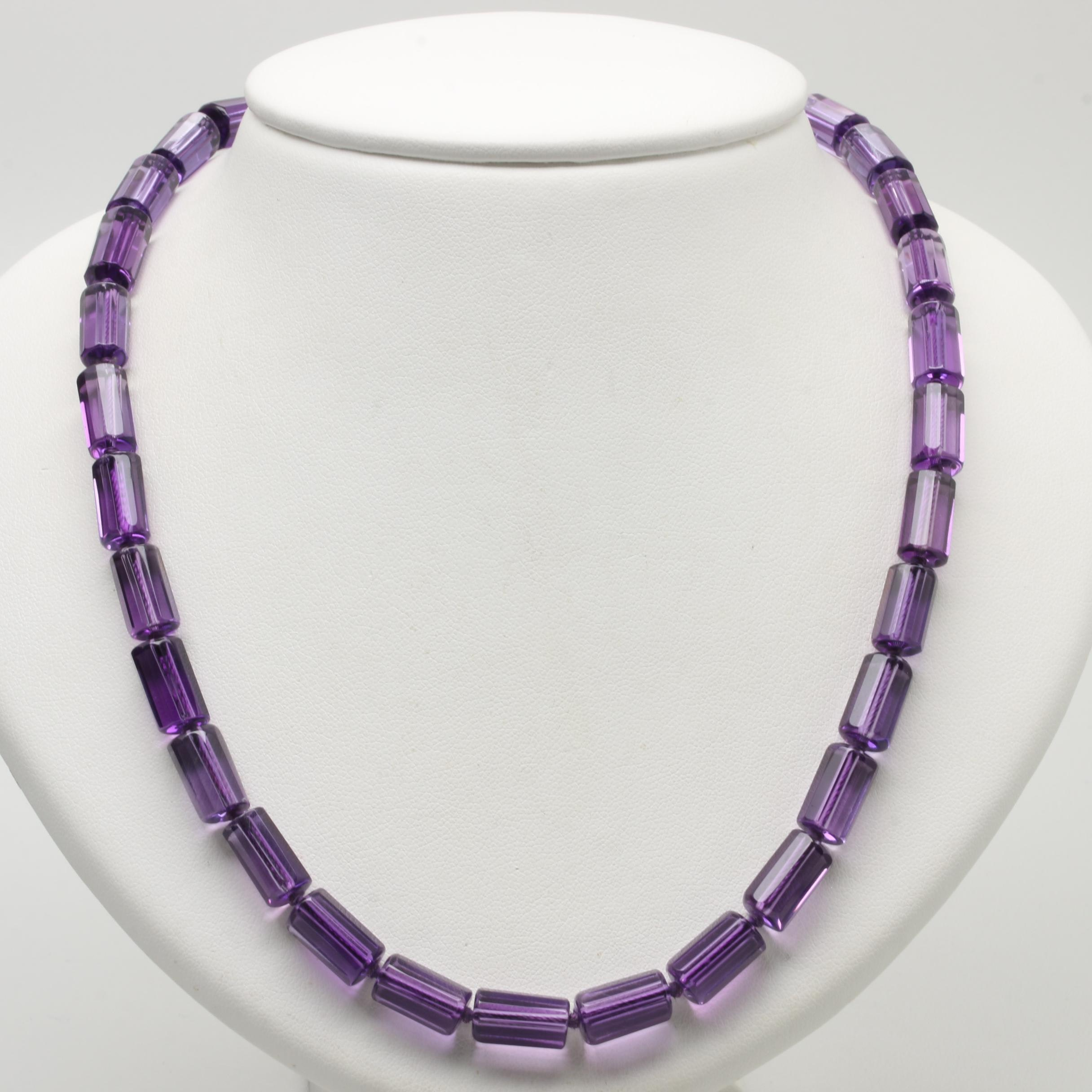14K Yellow Gold Amethyst Bead Necklace