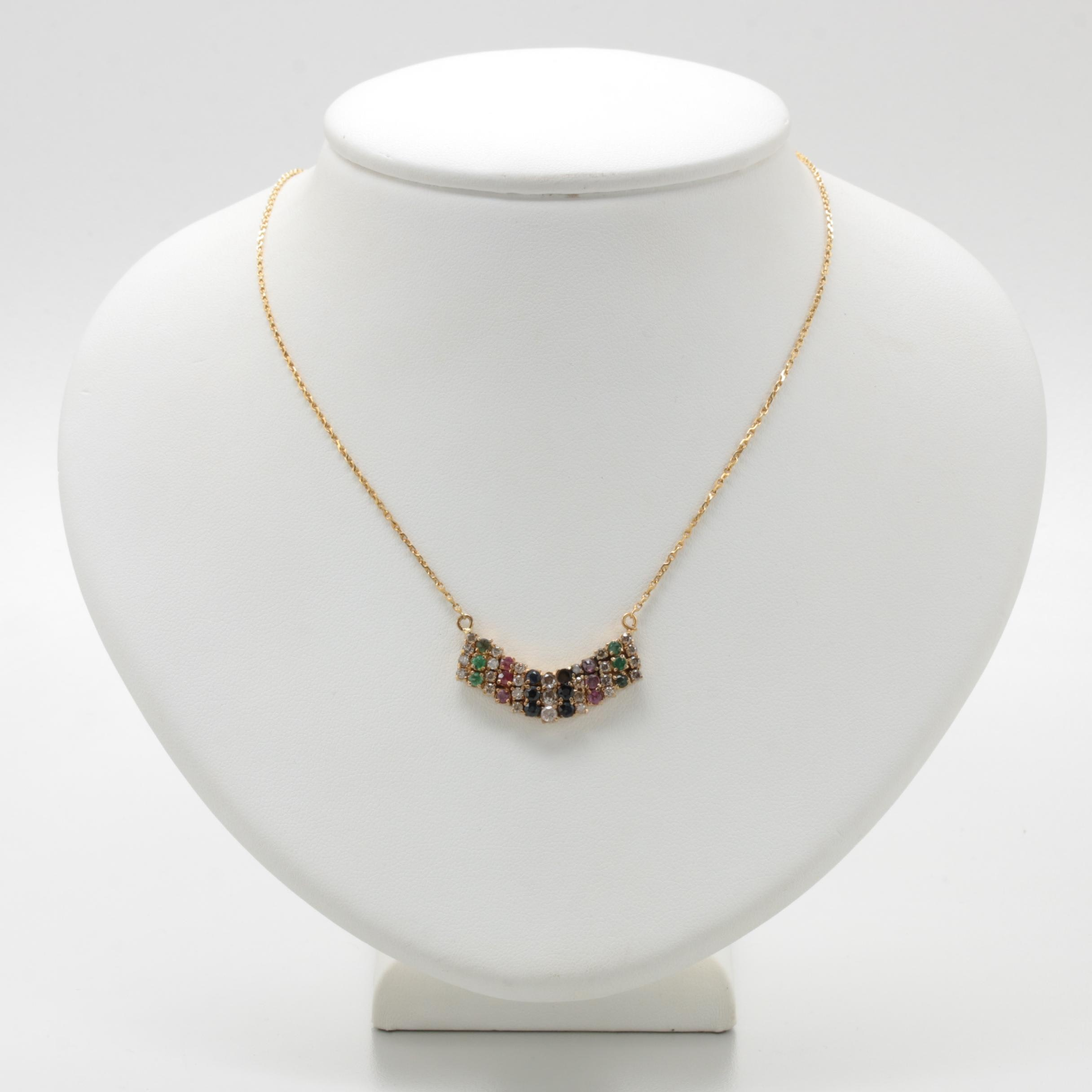 10K and 14K Yellow Gold Diamond, Emerald, Sapphire and Ruby Necklace