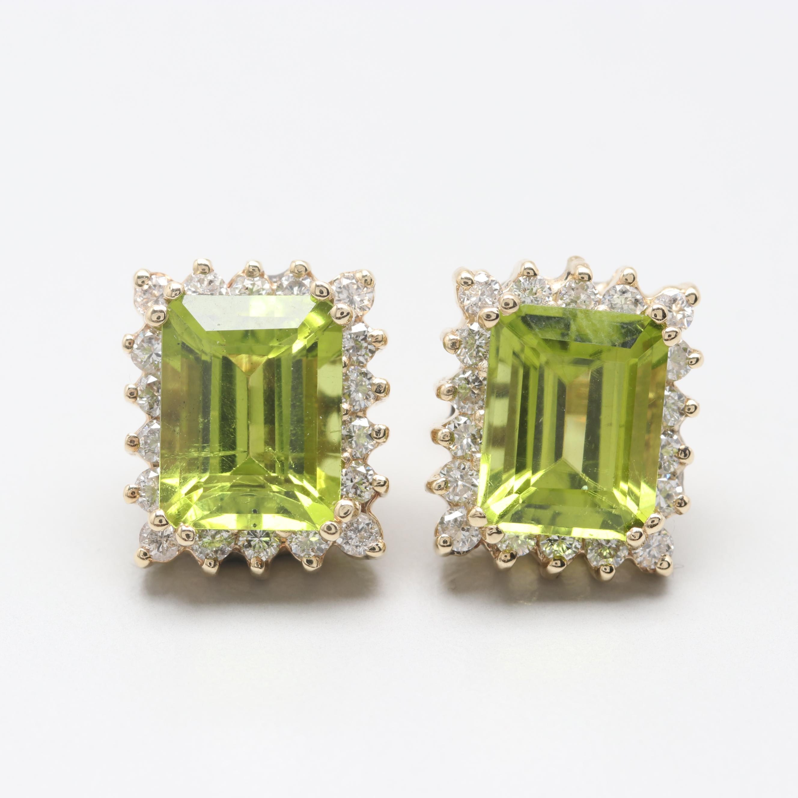 10K and 14K Yellow Gold Peridot and Diamond Earrings