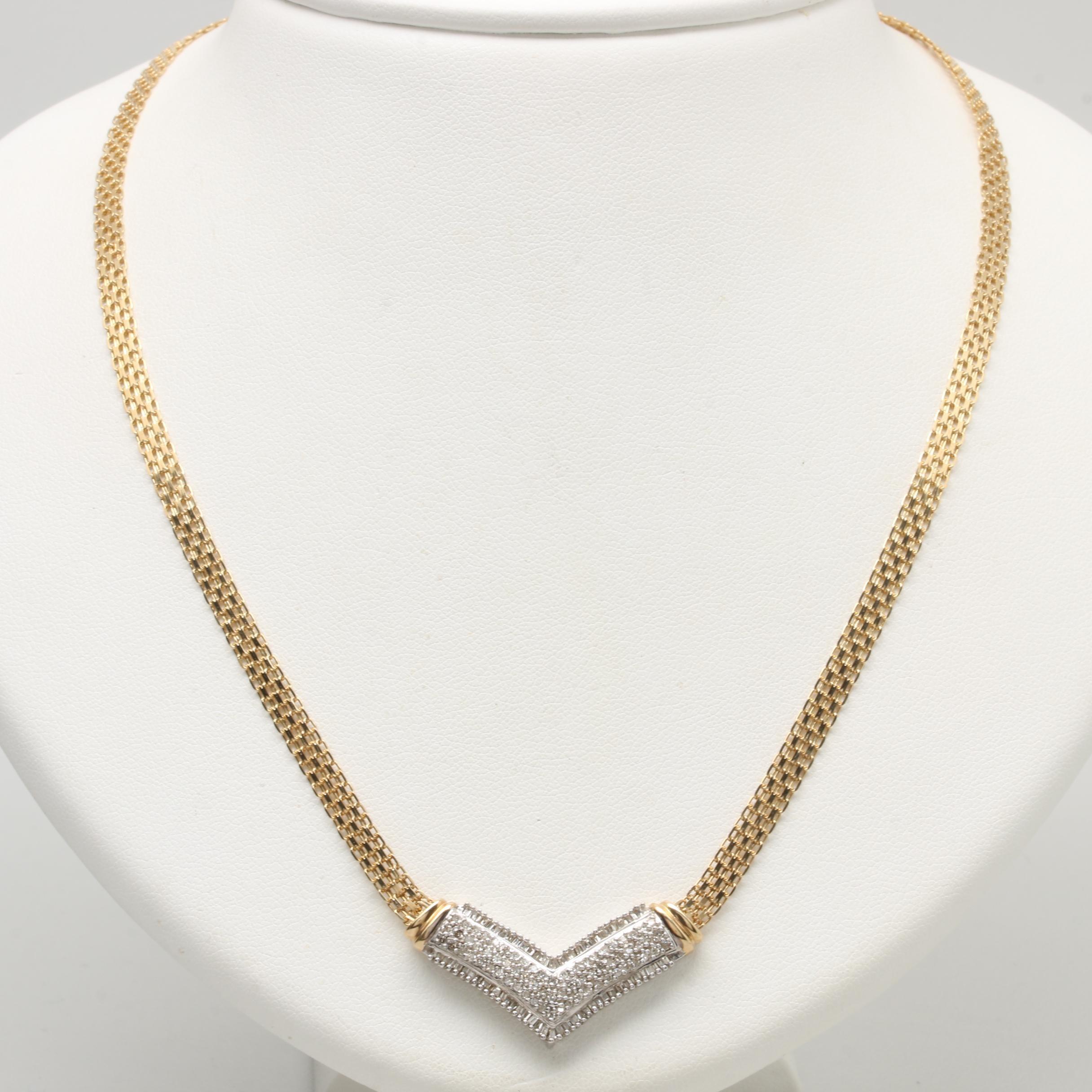 10K Yellow Gold Diamond Chevron Necklace