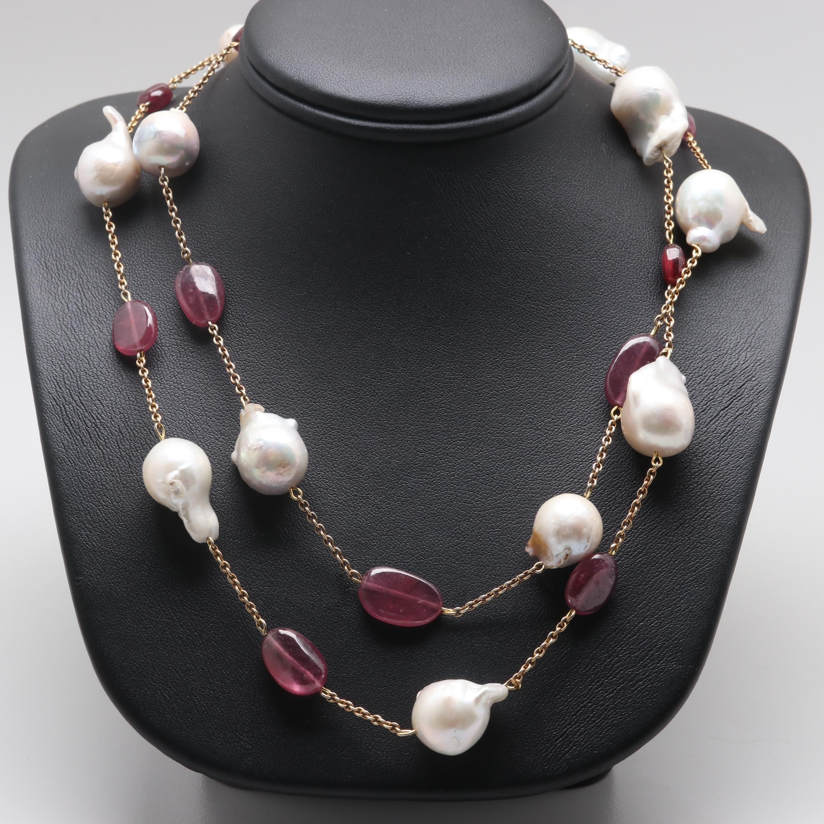 Gold Wash on Sterling Silver Cultured Pearl and Composite Ruby Necklace
