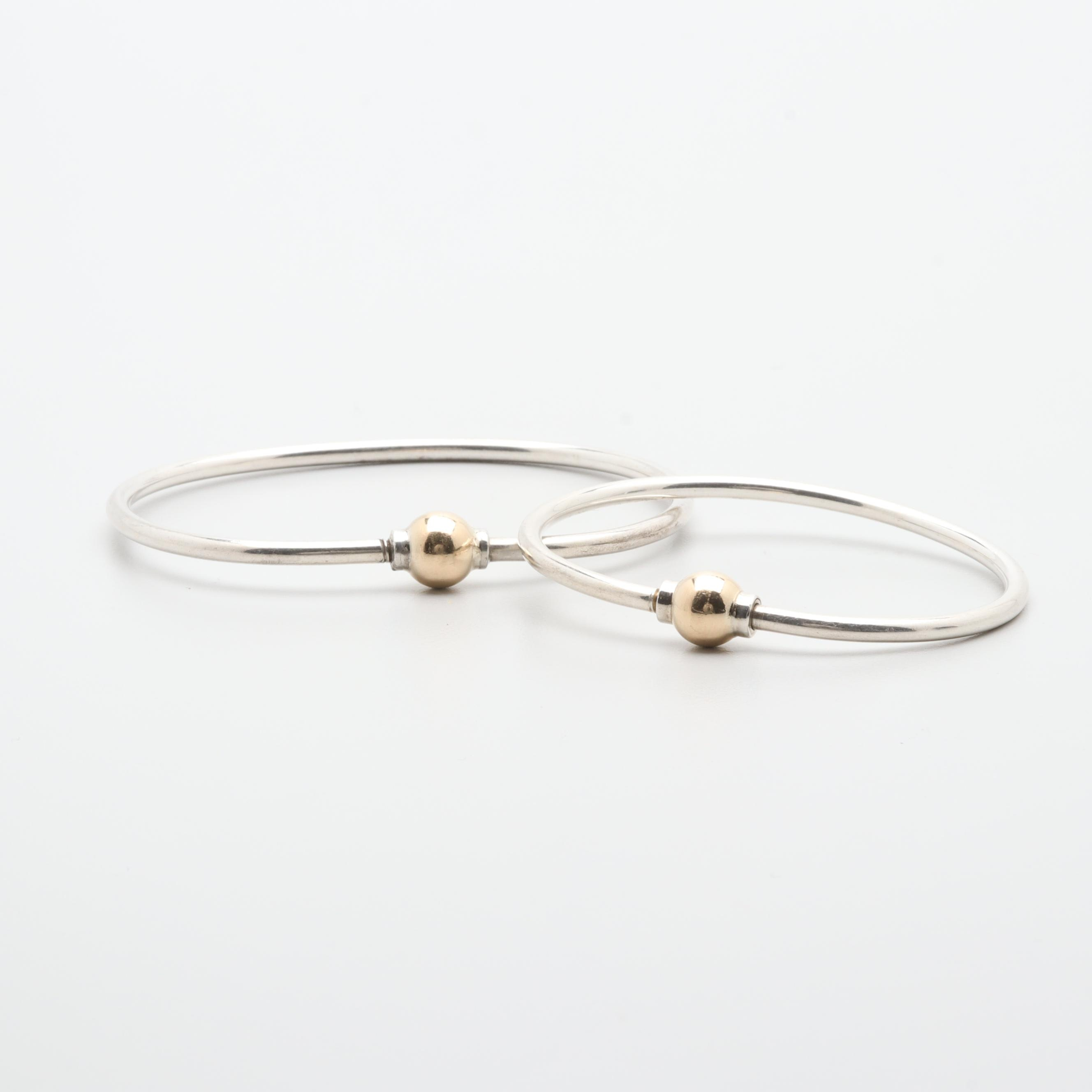 Sterling Silver Bracelets with 14K Yellow Gold Closures