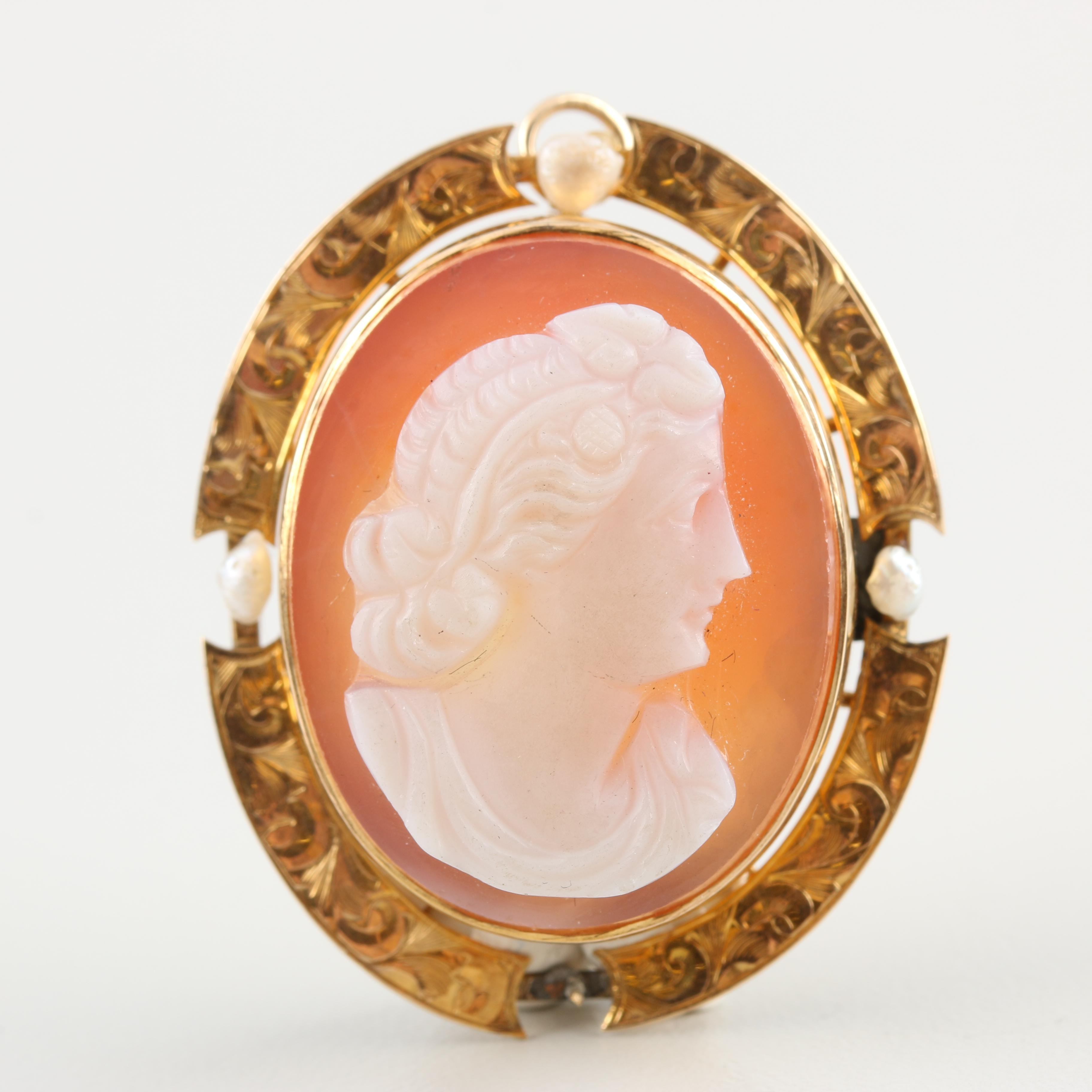 Victorian 10K Yellow Gold Agate and Seed Pearl Converter Brooch