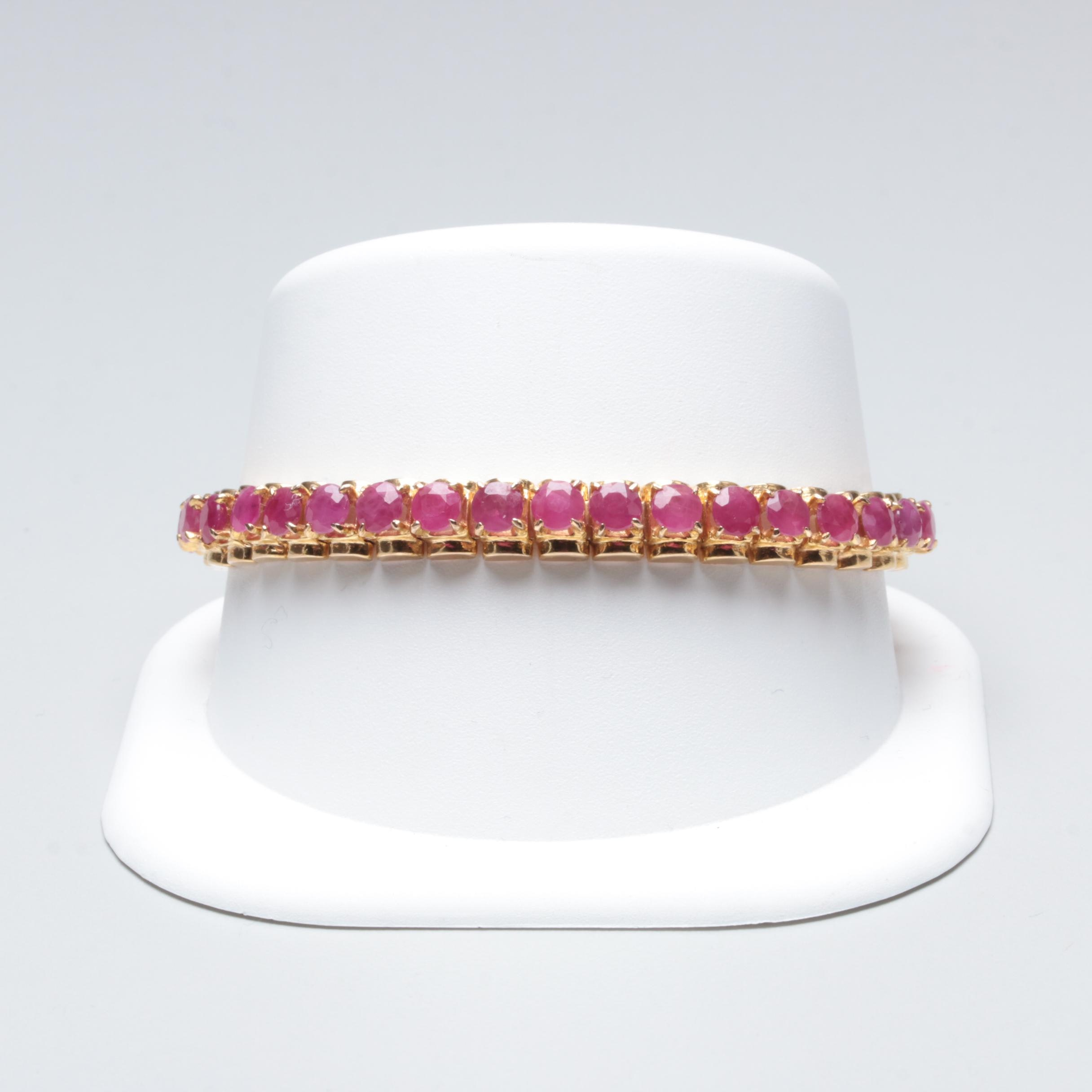 10K Yellow Gold Ruby Bracelet