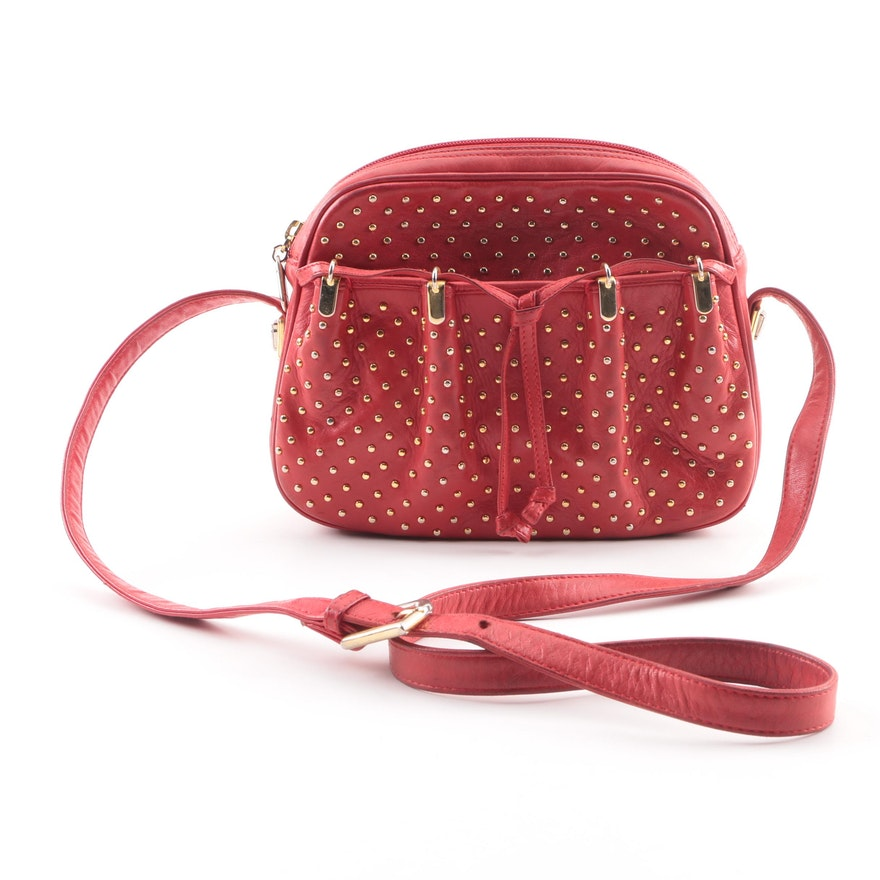 69f34a3b49eb Judith Leiber Red Leather Studded Crossbody Bag   EBTH