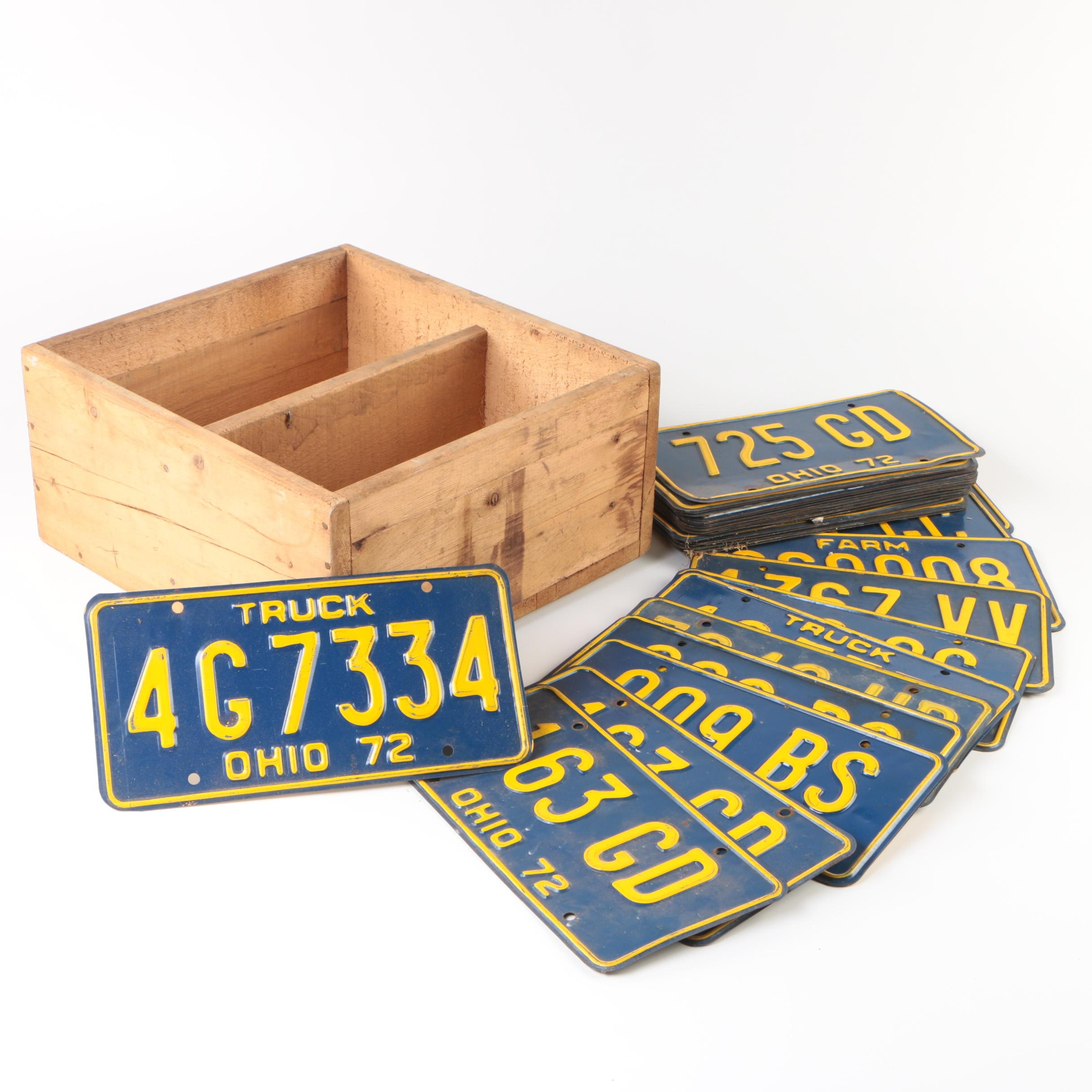 1972 Ohio Automotive License Plates and Box