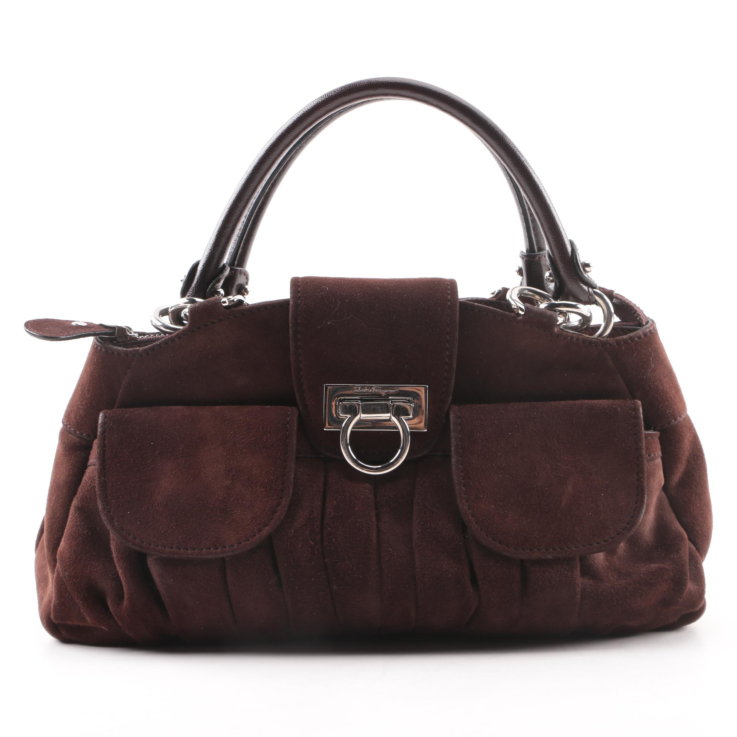 Salvatore Ferragamo Brown Suede and Leather Turn Lock Satchel
