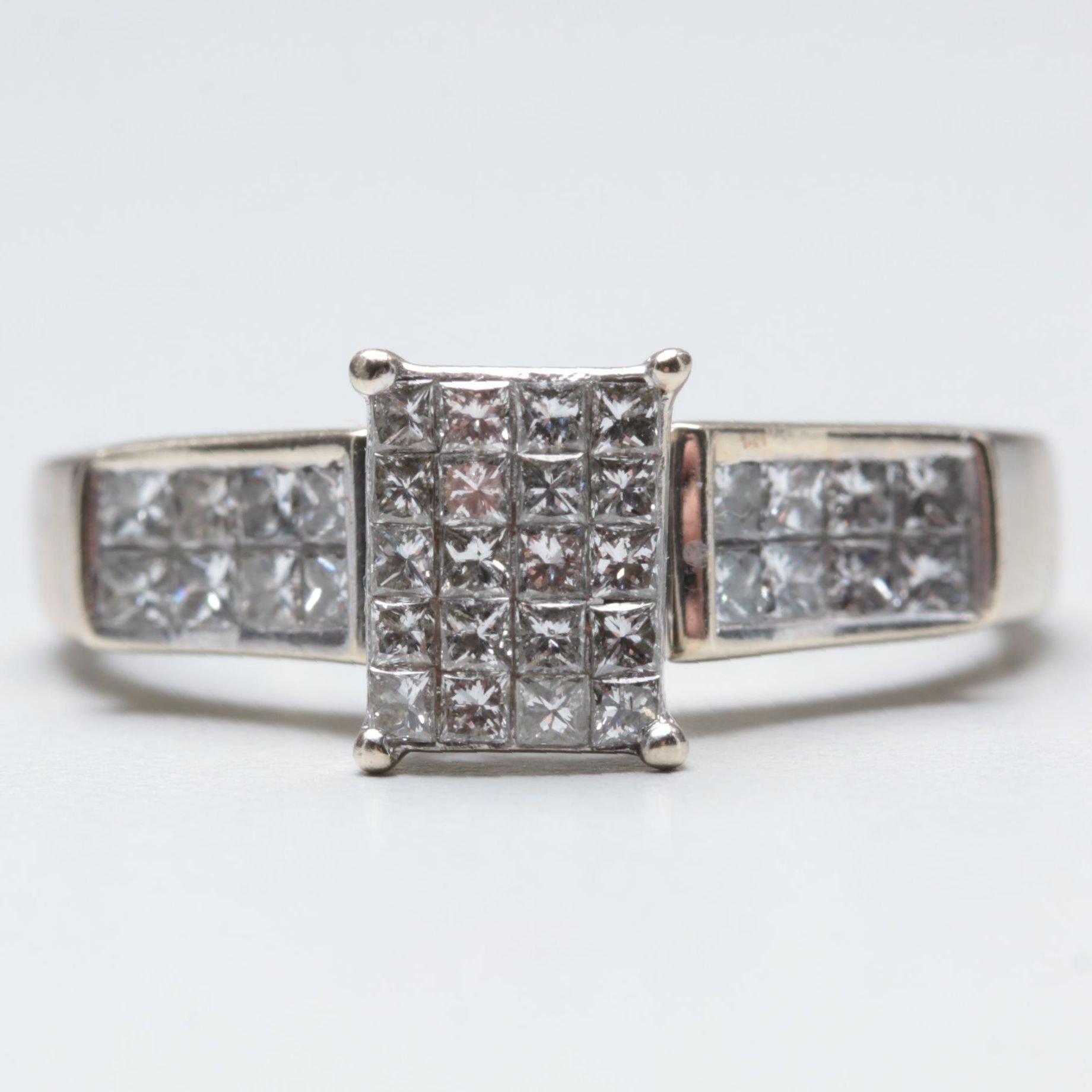 14K White Gold 1.24 CTW Diamond Ring
