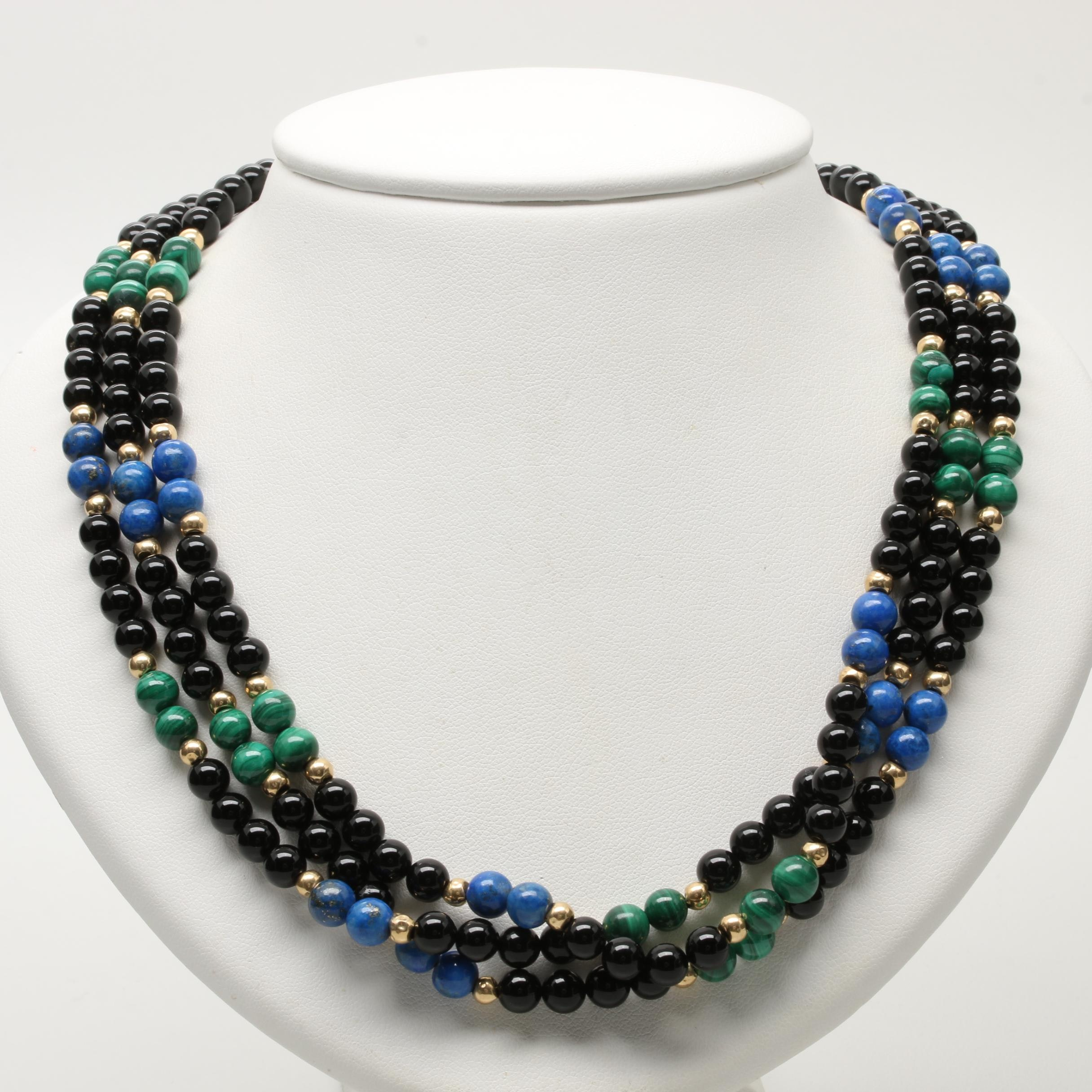 14K Yellow Gold Lapis Lazuli, Black Onyx and Malachite Multi Strand Necklace