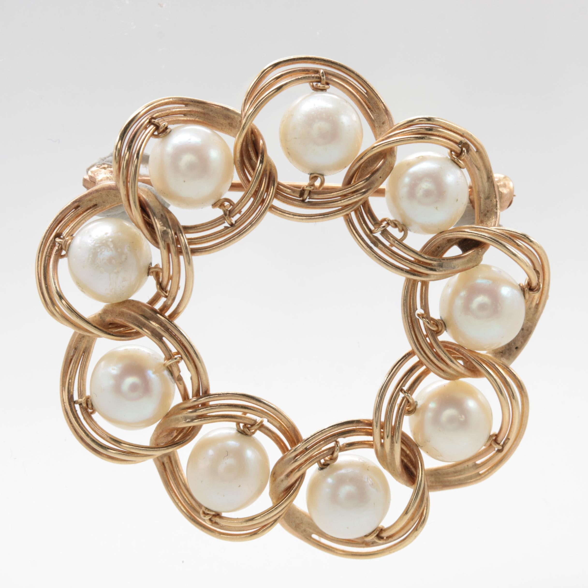 Circa 1960s - 1970s 14K Yellow Gold Cultured Pearl Brooch