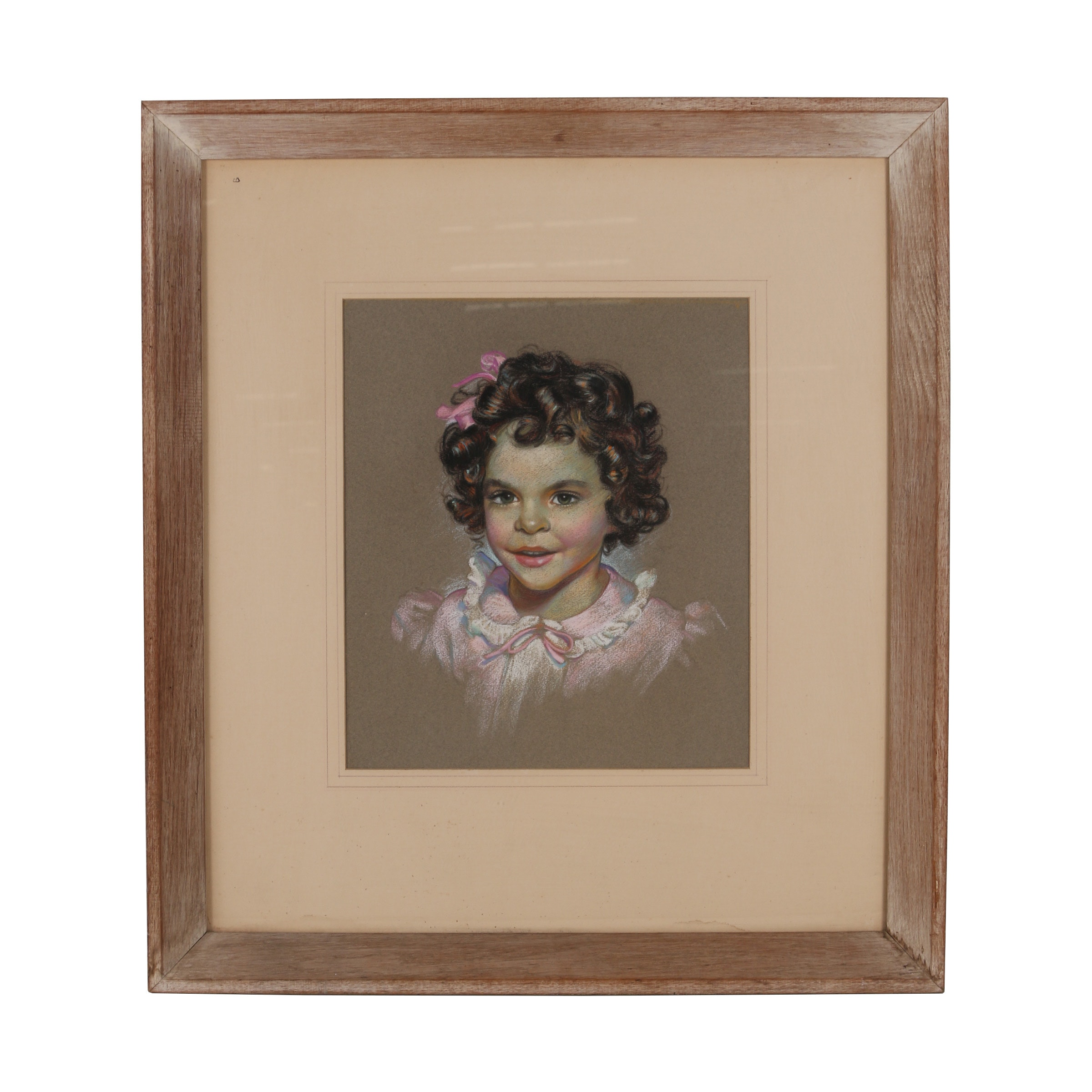 "Robert Whitmore Pastel Drawing ""Pink Bow (Young Girl)"""
