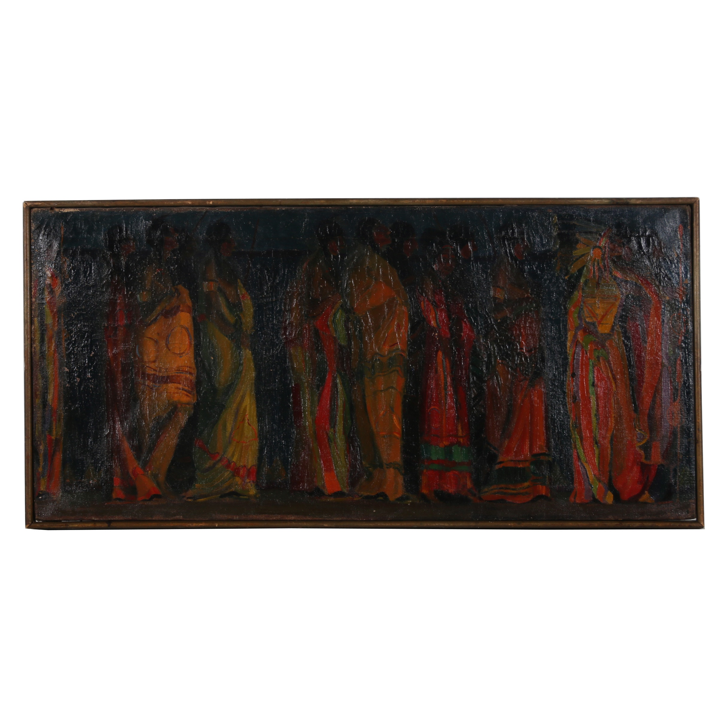 "Robert Whitmore Oil Painting ""Indian Procession"""