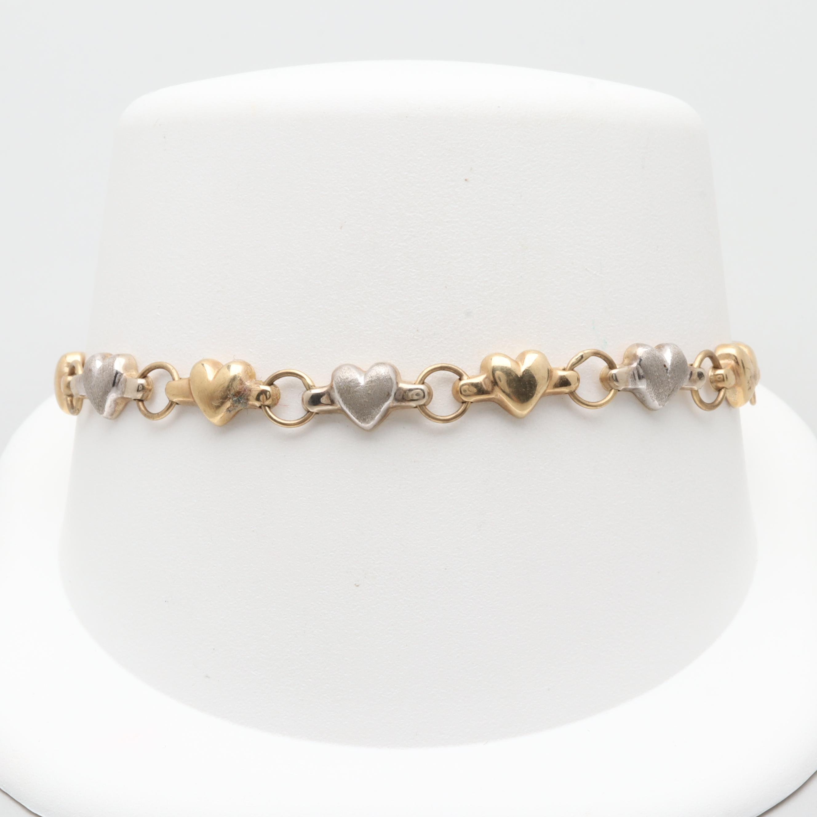 10K White and Yellow Gold Heart Link Bracelet