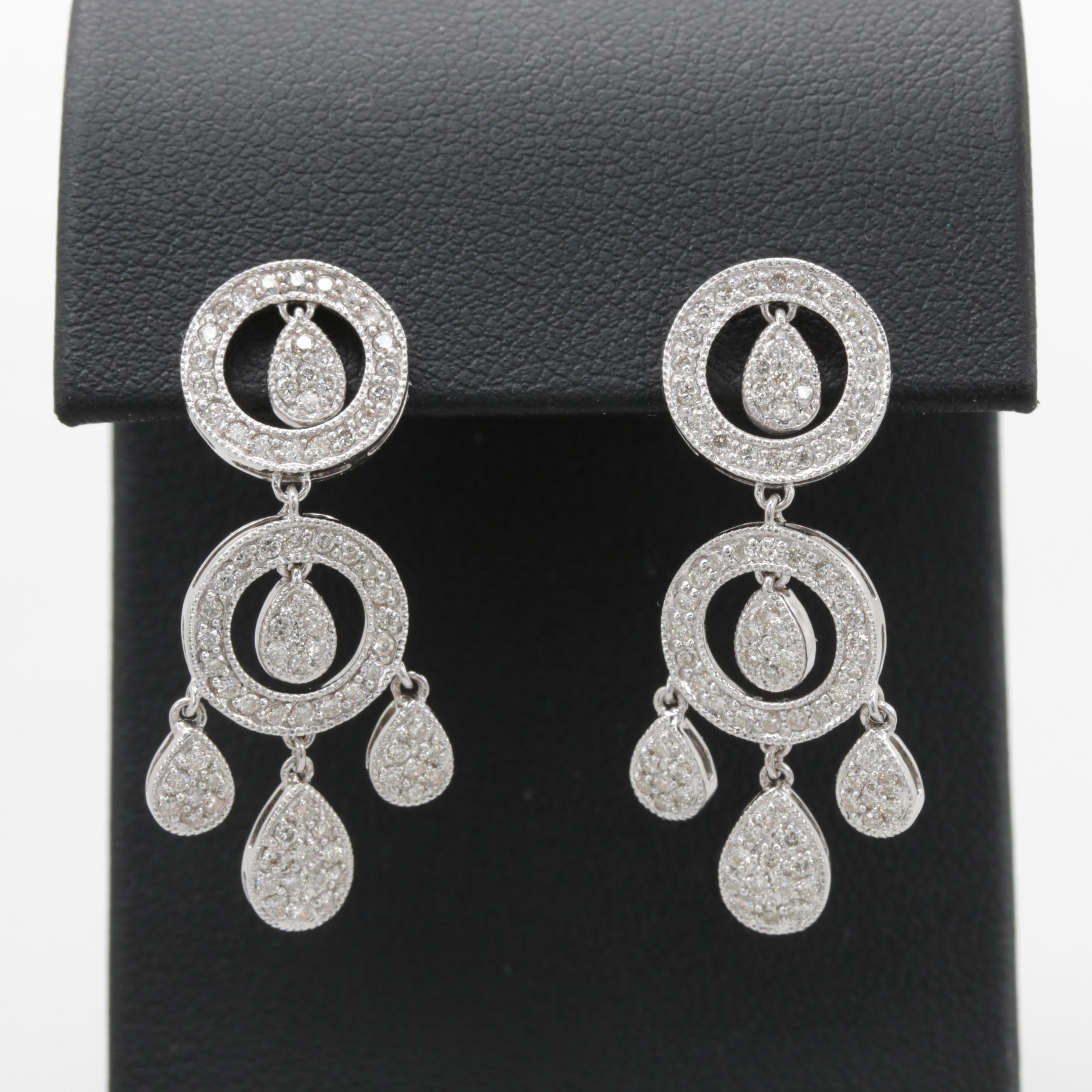 18K White Gold 1.07 CTW Diamond Earrings