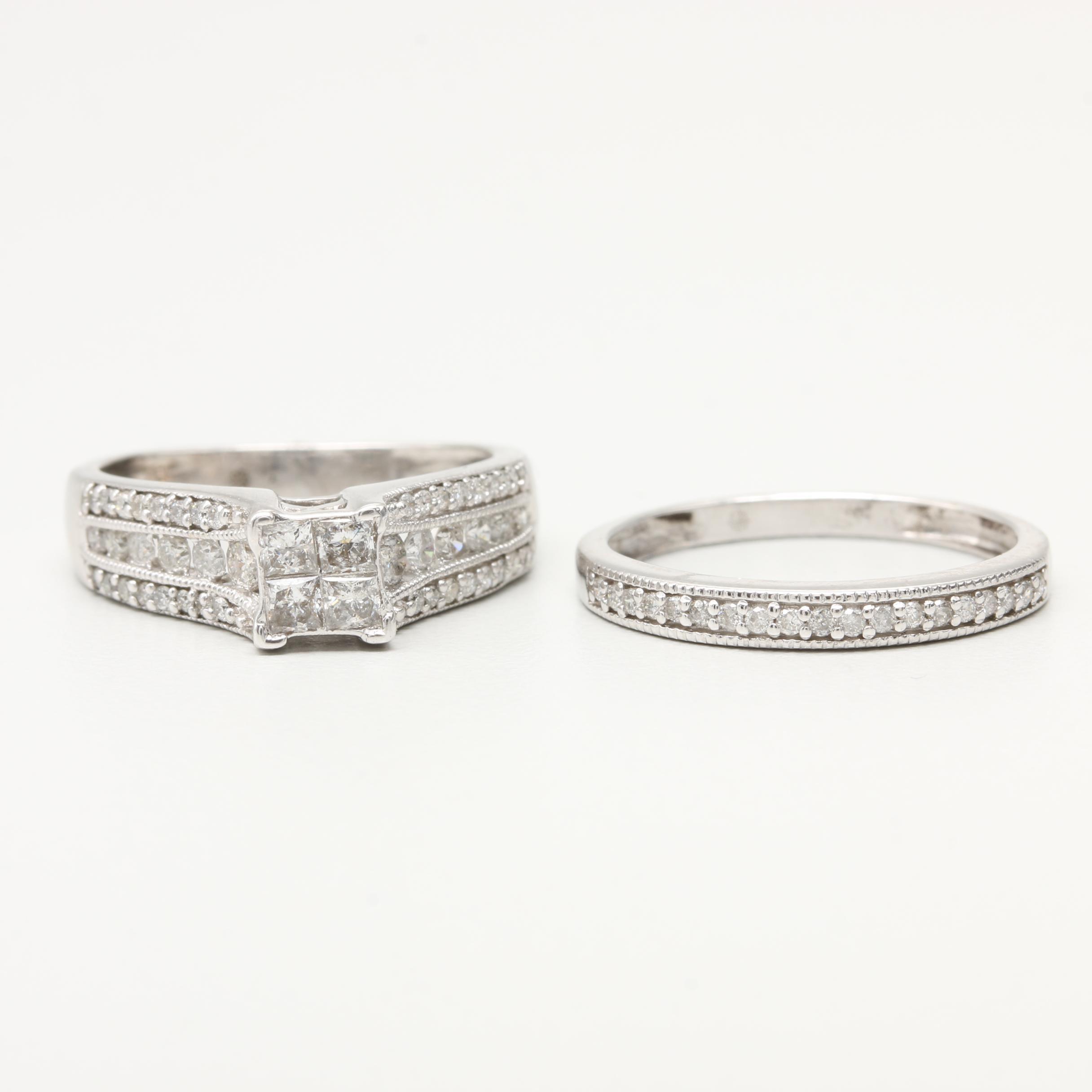 14K White Gold Diamond Ring Set