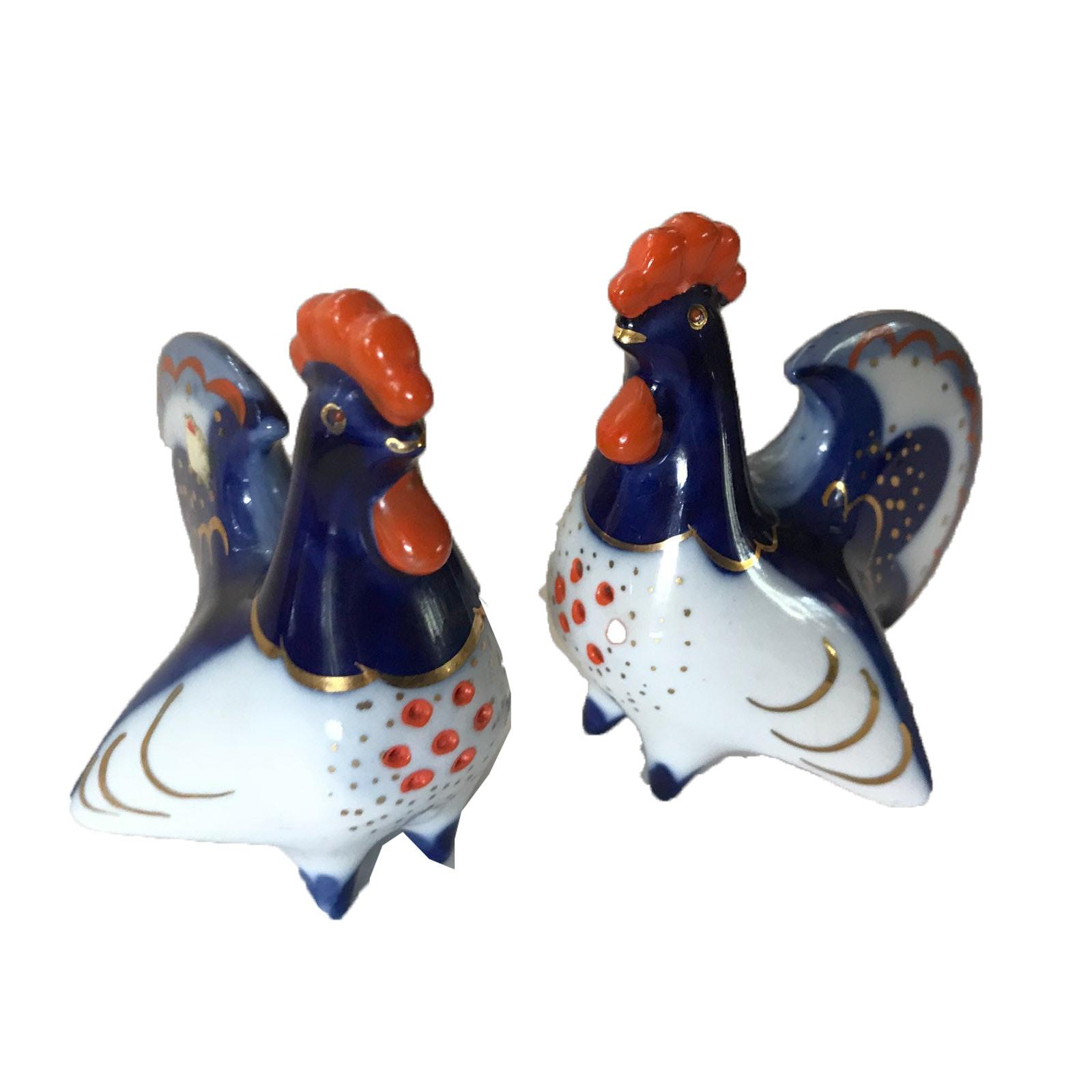 Vintage Russian Lomonosov Porcelain Rooster Salt Shakers