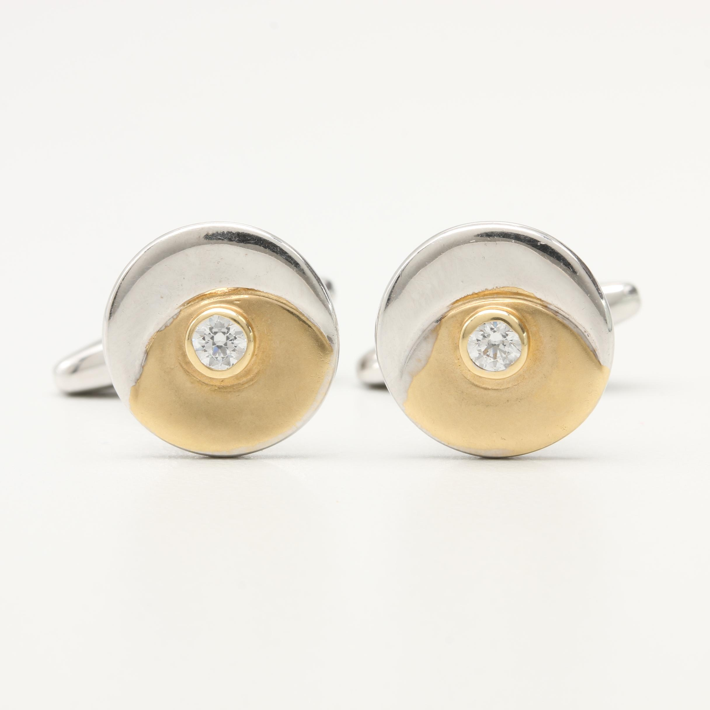Italian 14K White Gold Cubic Zirconia Cufflinks With Yellow Gold Accents