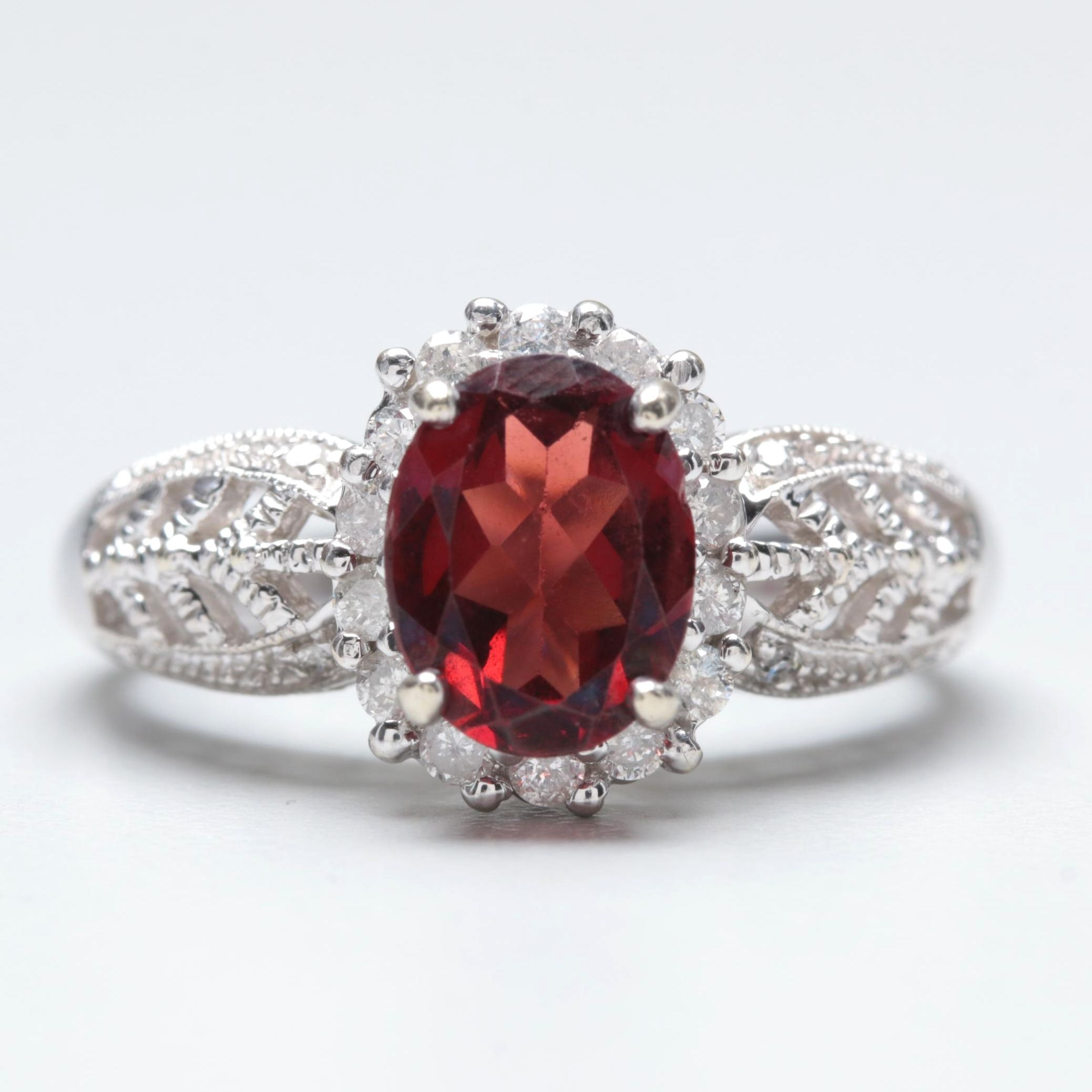 10K White Gold Garnet and Diamond Ring