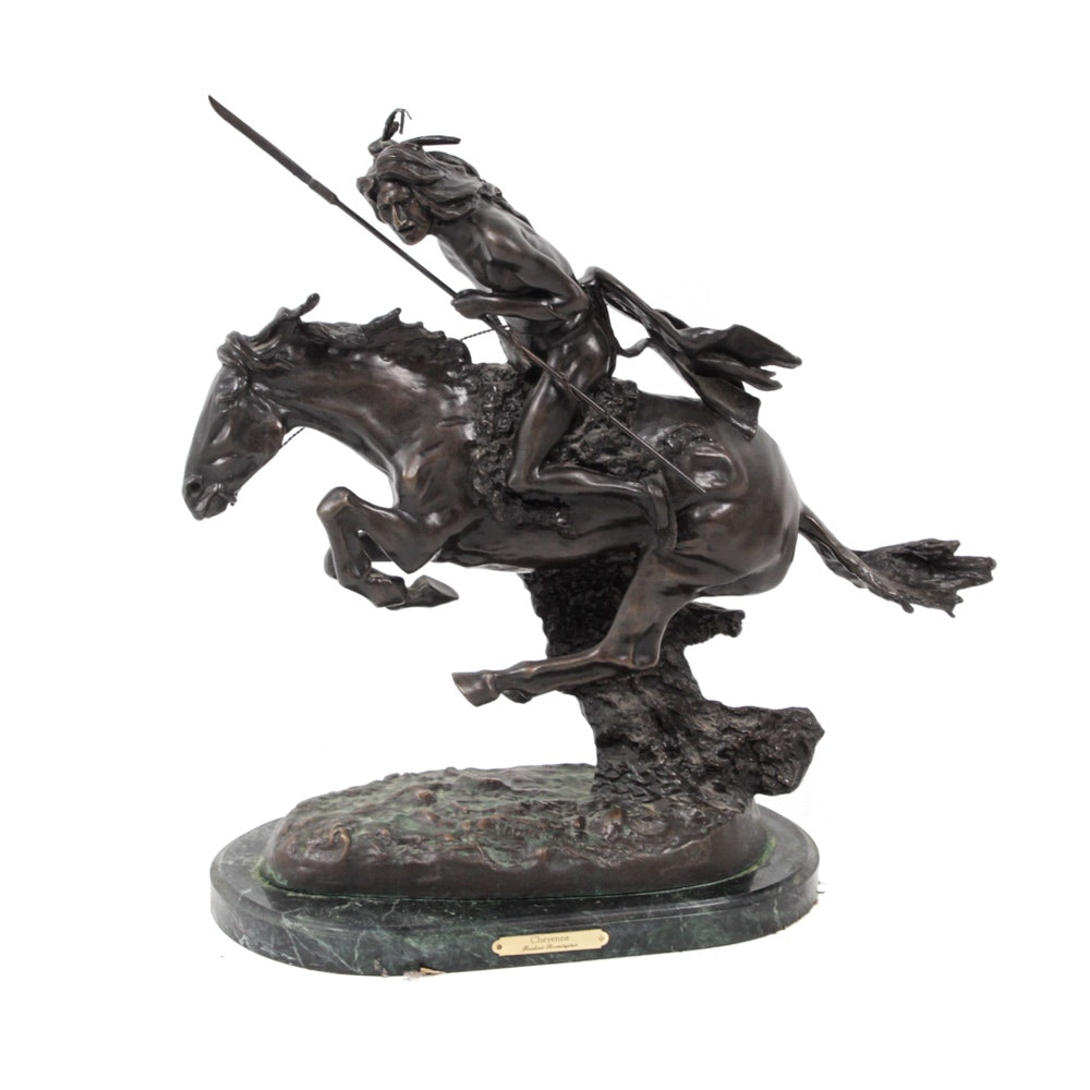 "After Frederic Remington ""Cheyenne"" Cast Bronze Sculpture"