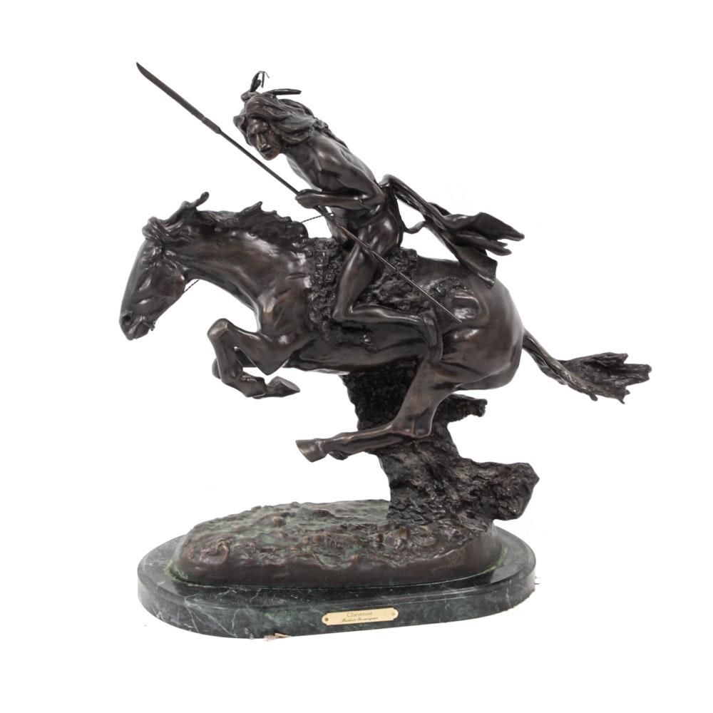 "After Frederic Remington ""Cheyenne"" Cast Bronze Sculpture"