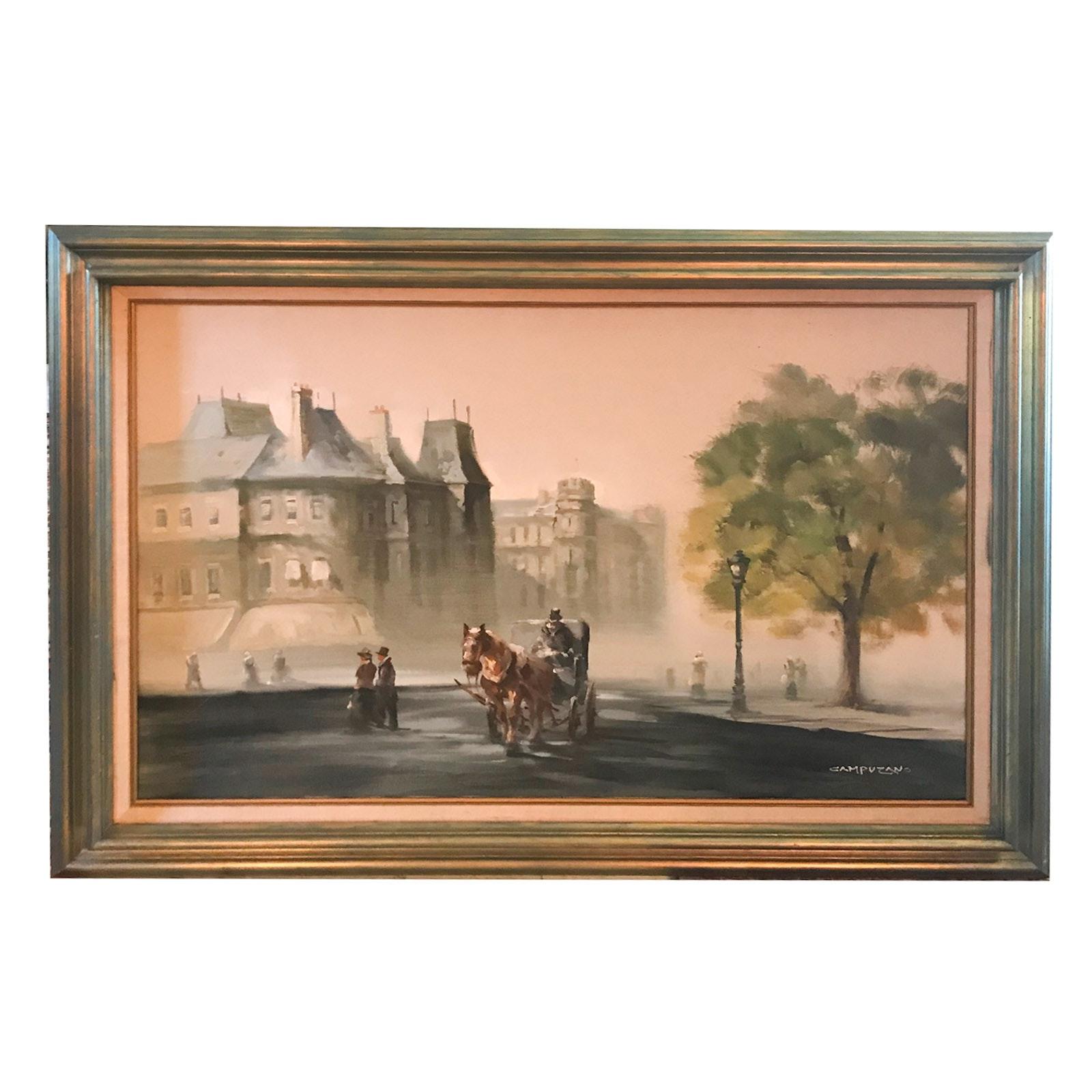 Jose Luis Campuzano Oil Painting of Street Scene