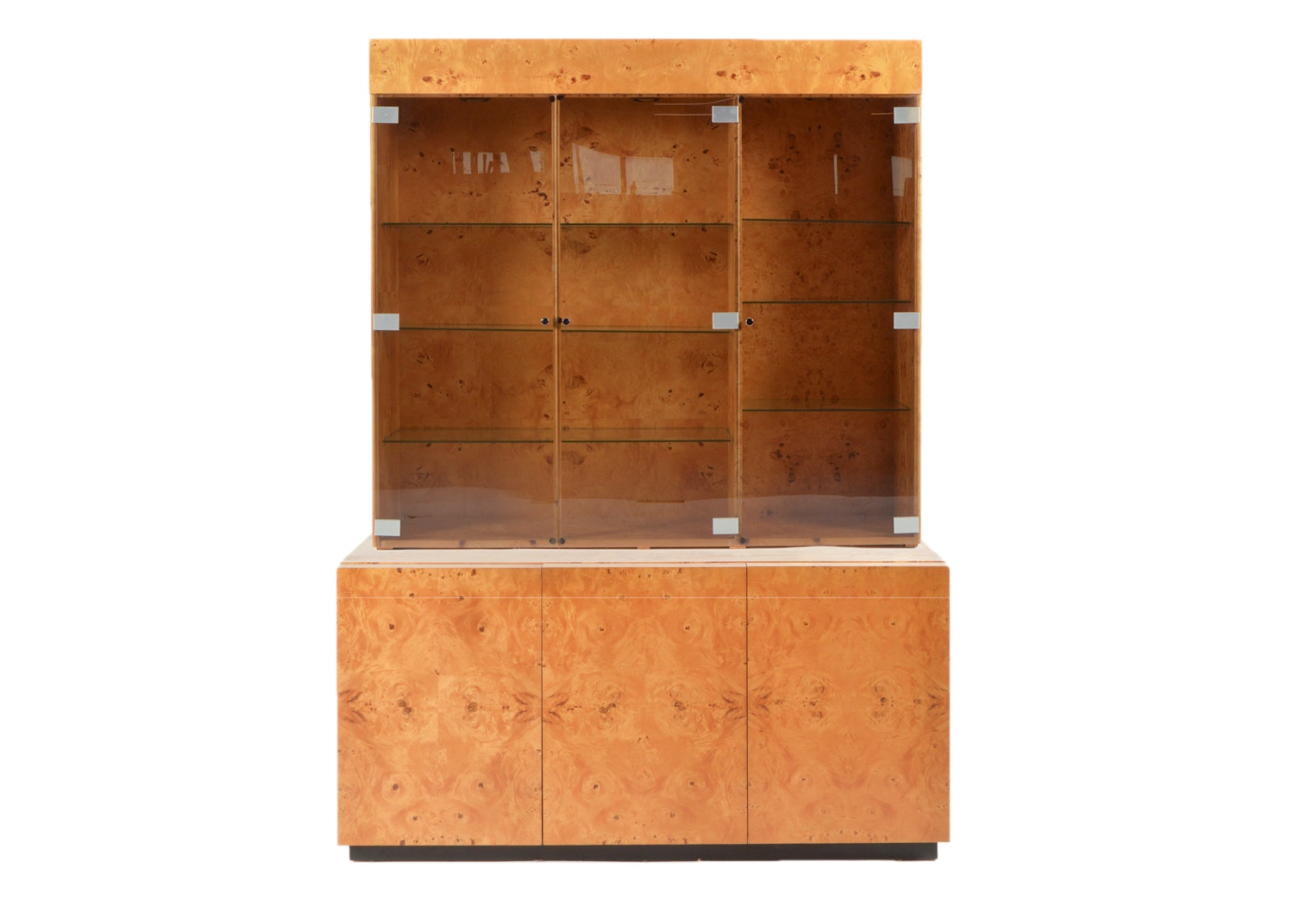 Mid Century Modern Maple Burl Milo Baughman for Dillingham China Cabinet