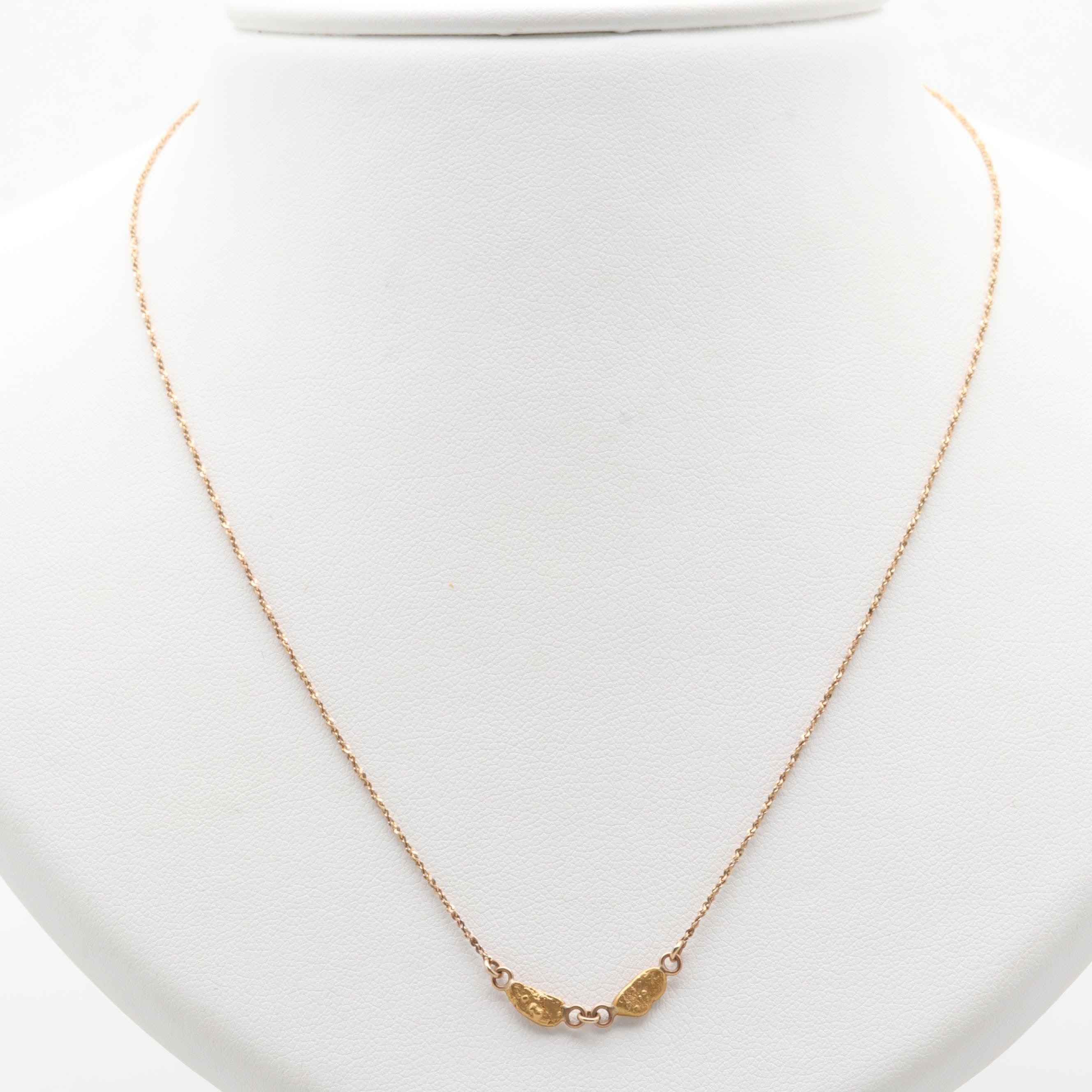 10K Yellow Gold Necklace with 22K Yellow Gold Nuggets