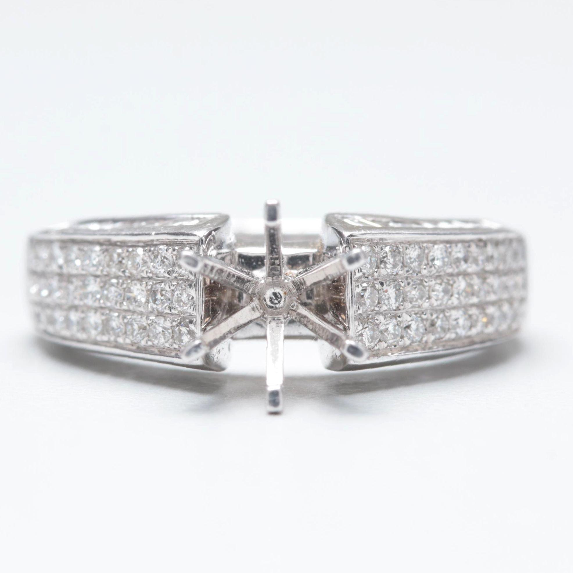 14K White Gold 0.98 CTW Diamond Semi-Mount Ring