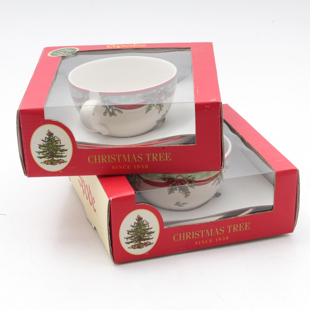 Spode Christmas Tree Cup and Saucer Sets