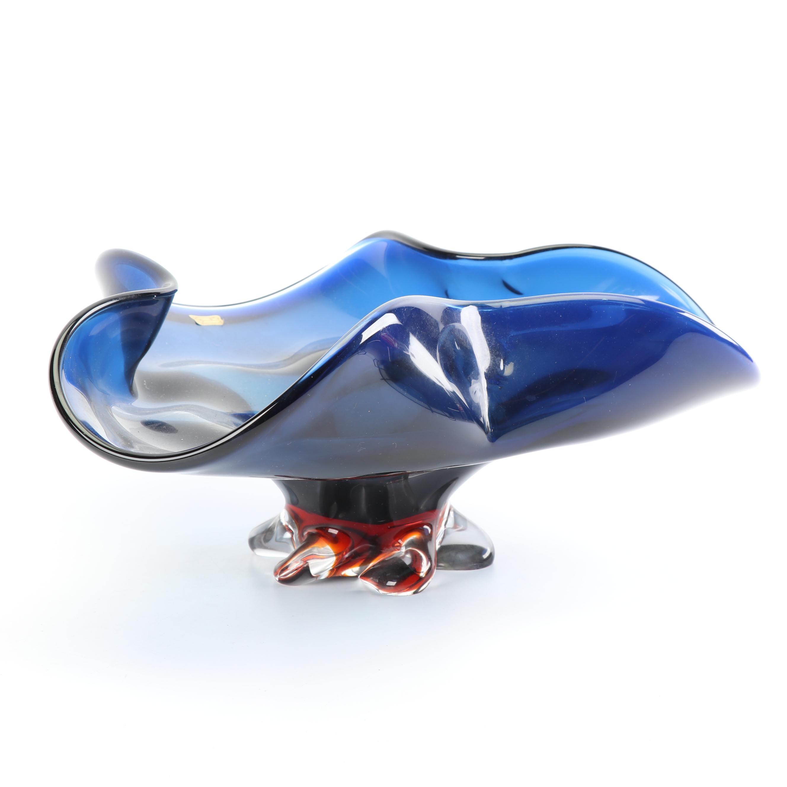 Vintage Egermann Czech Republic Art Glass Compote