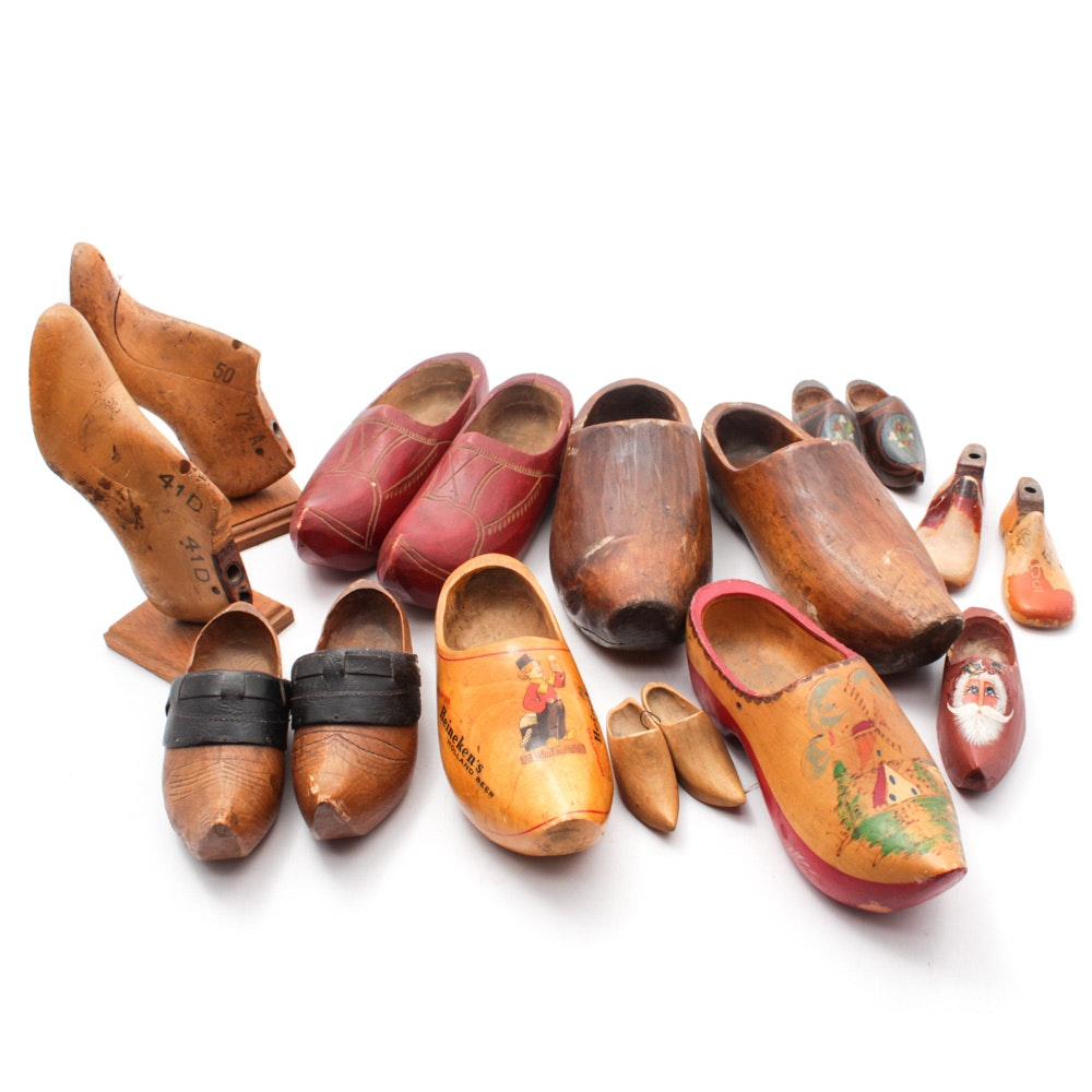 Vintage Shoe Forms and Wooden Clogs