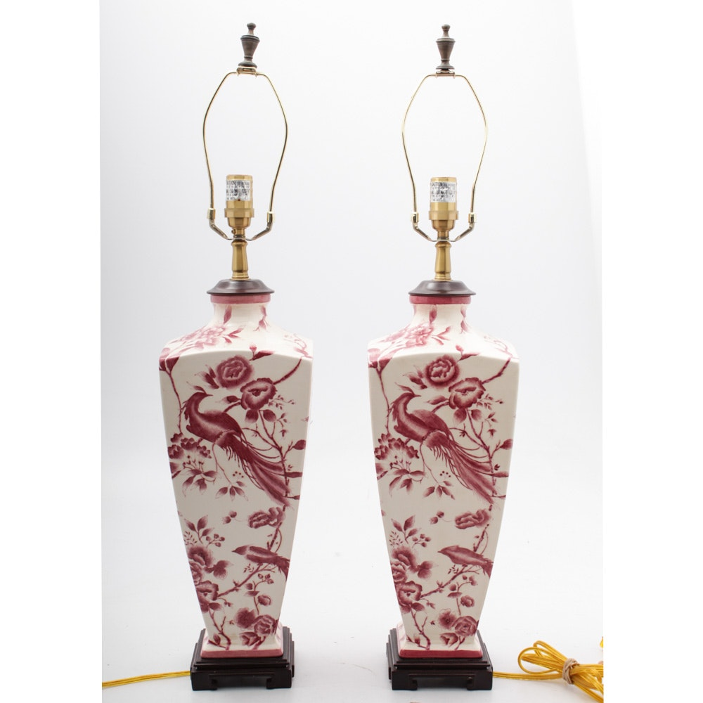 Hand-Painted Chinoiserie Table Lamps