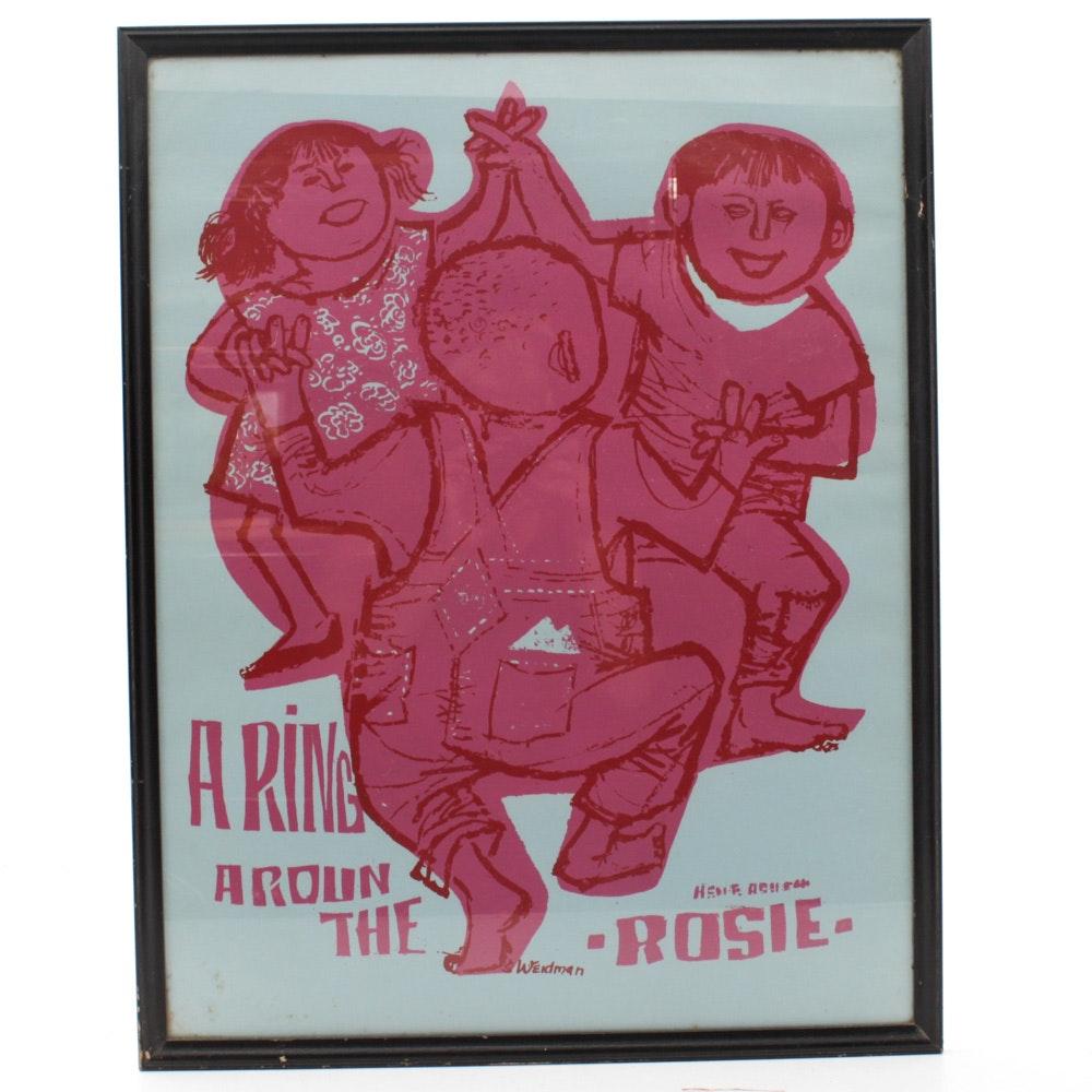 """David Weidman Serigraph """"A Ring Around the Rosie"""""""