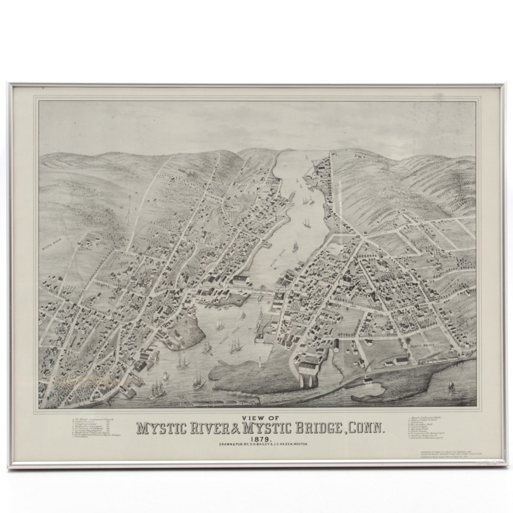 Vintage Map of Mystic River, Connecticut