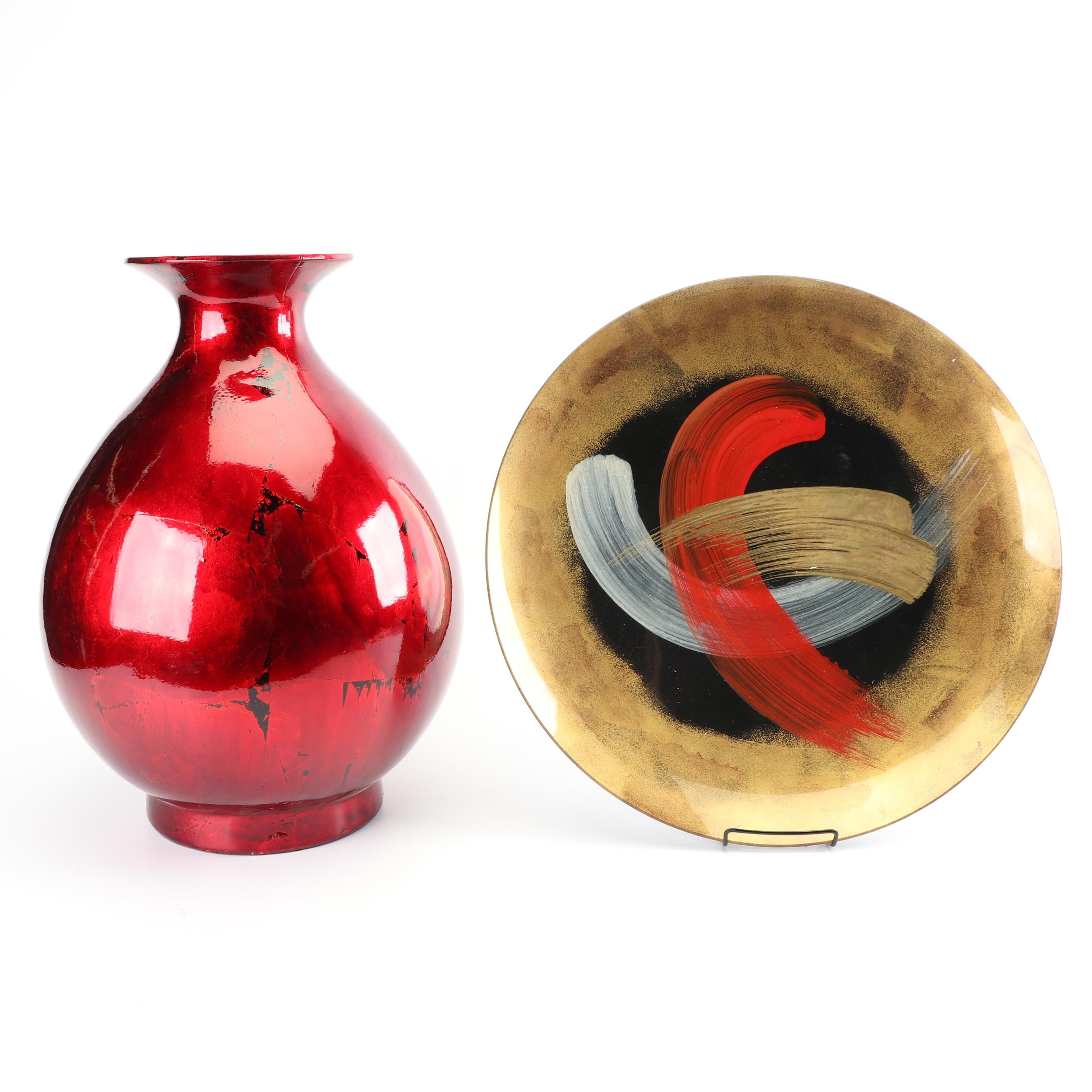 Contemporary Lacquered Vase With Reverse Painted Glass Platter