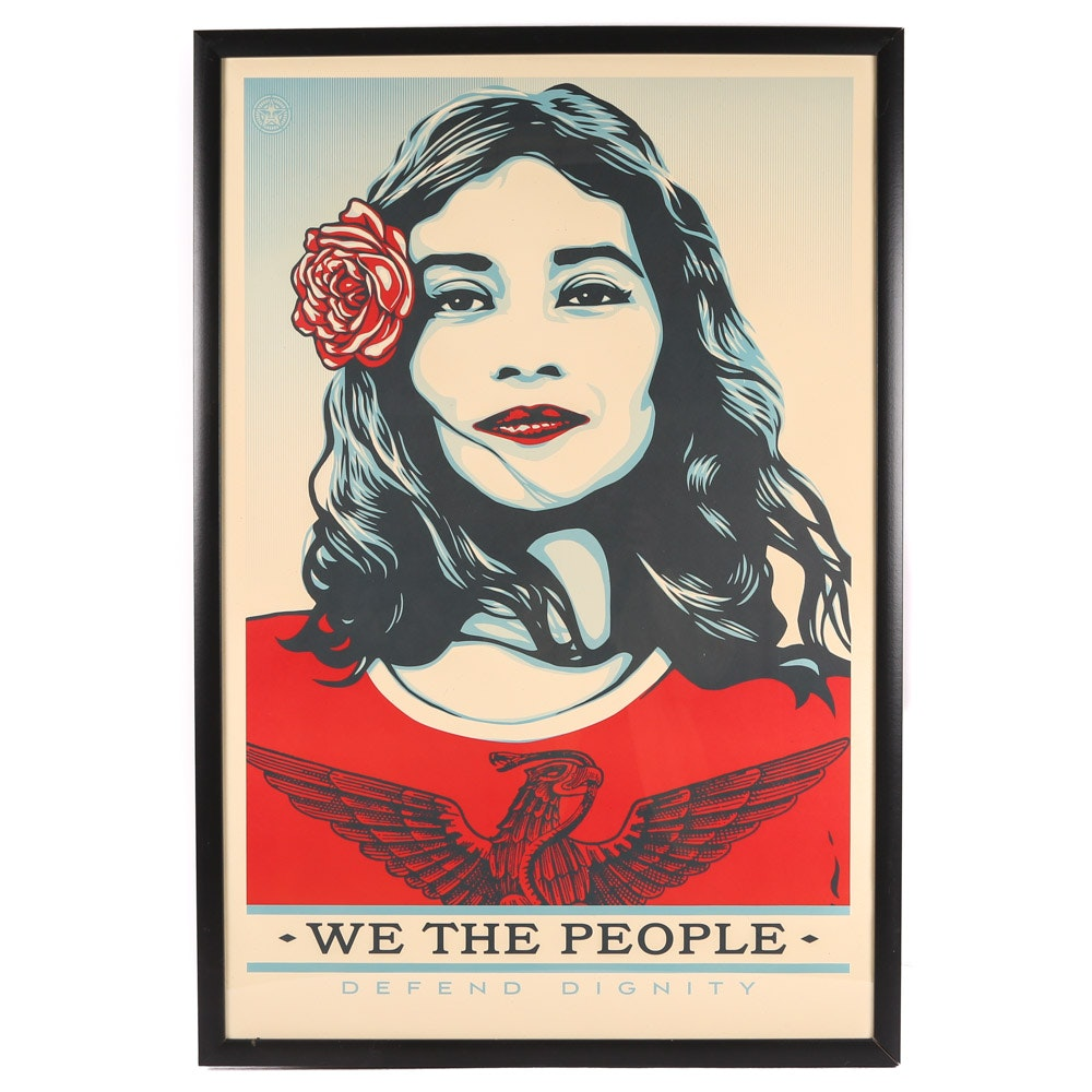 """Shepard Fairey Offset Print """"We the People Defend Dignity"""""""