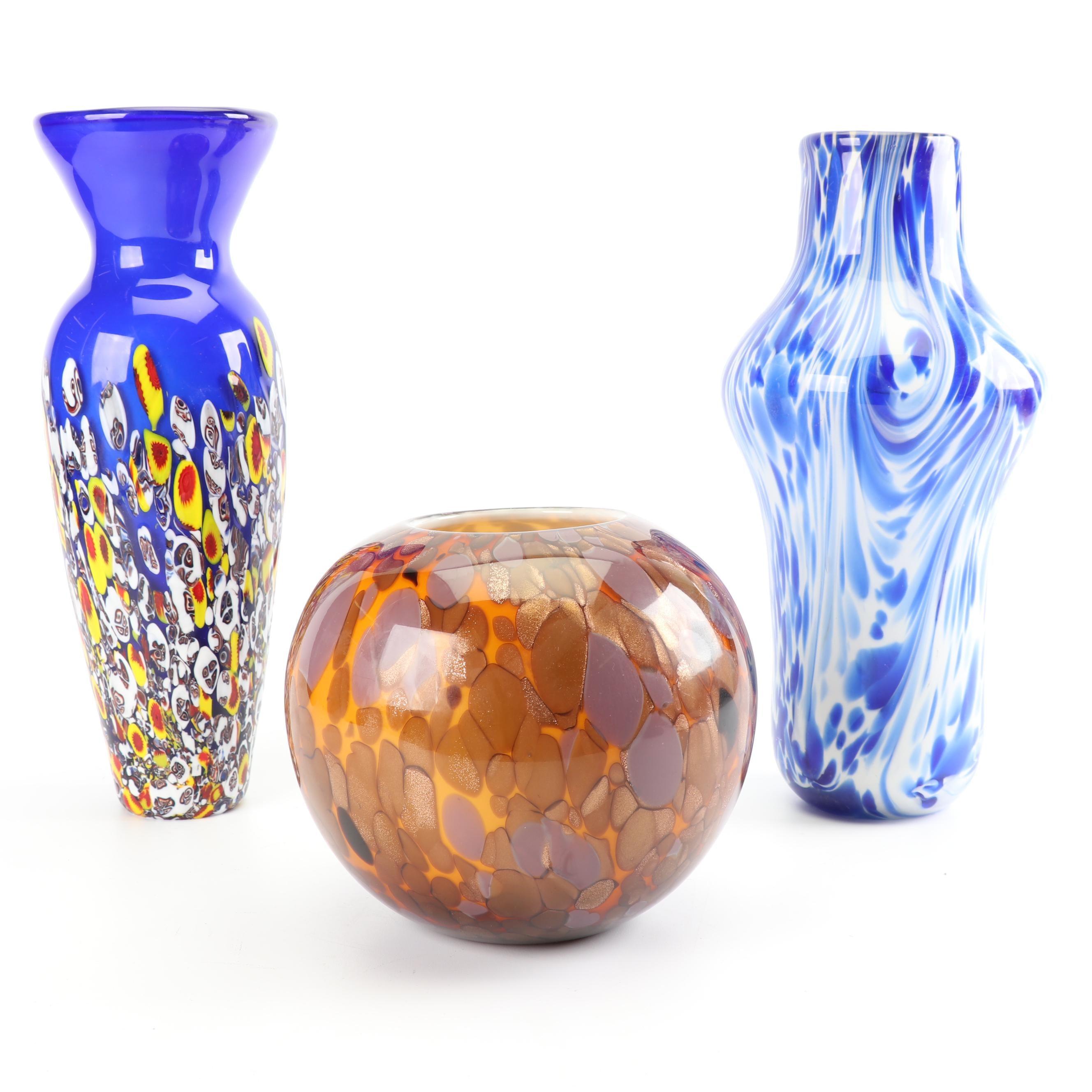 Murano Inspired Art Glass Vases
