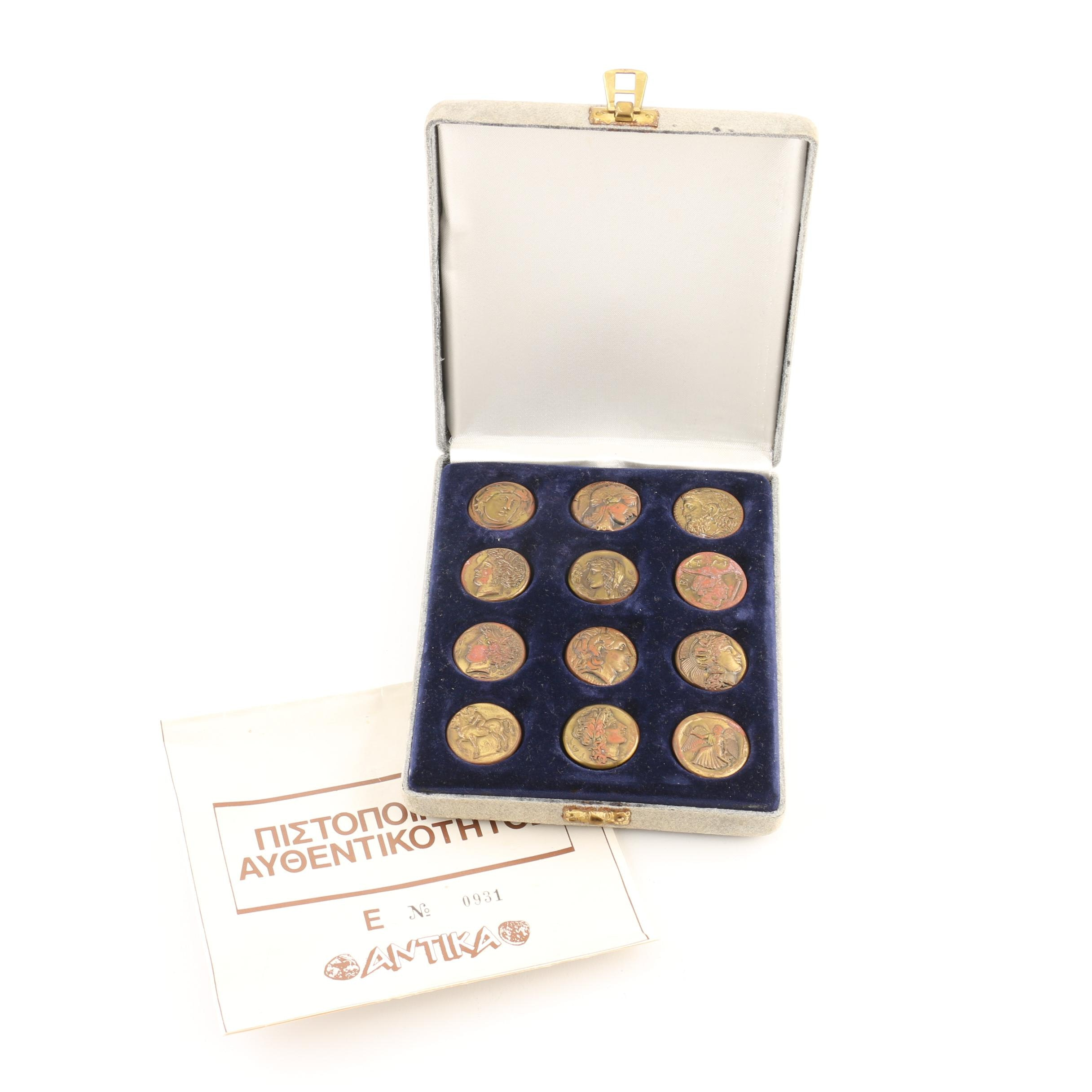 Set of Twelve Ancient Greek Style Coin Replicas