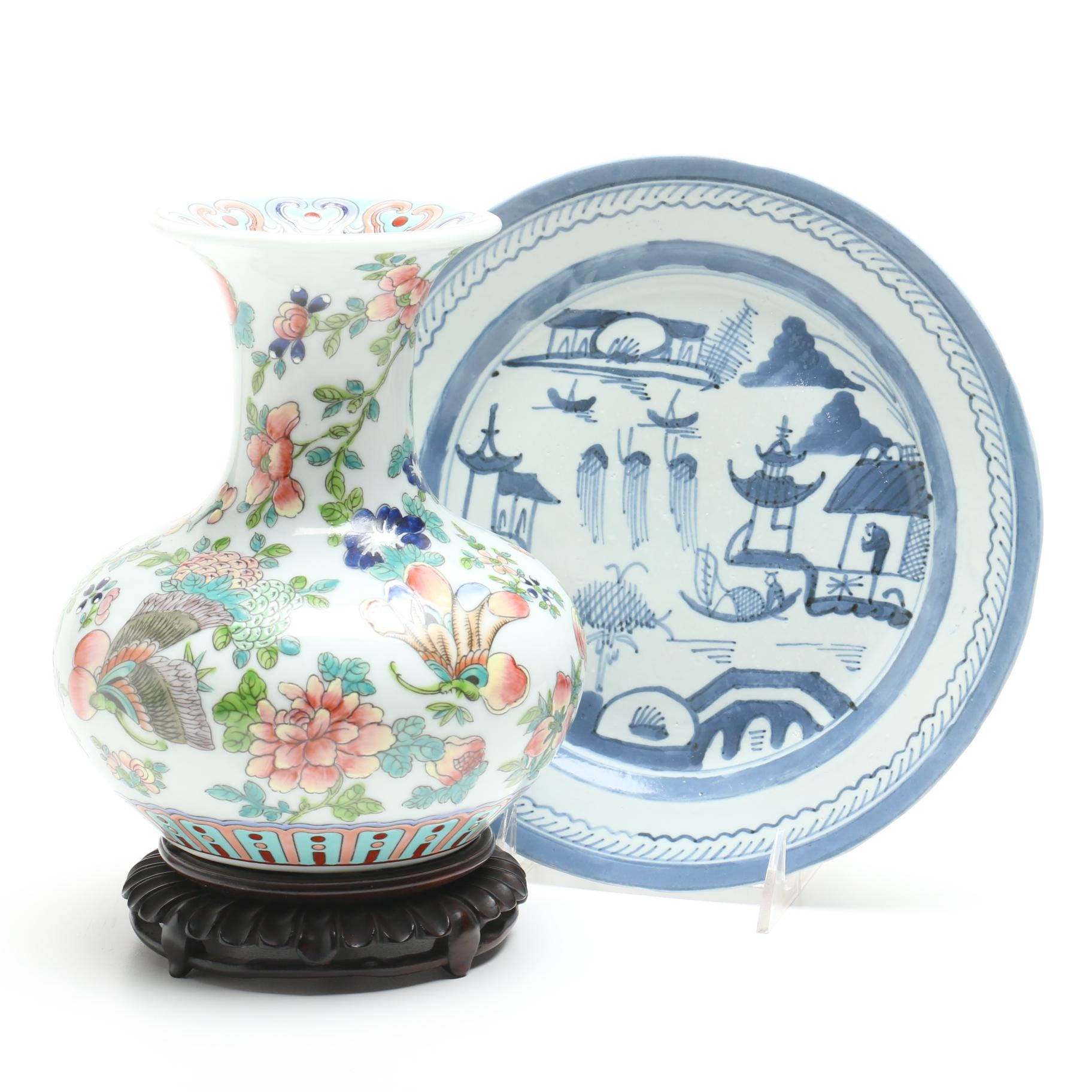 Chinese Ceramic Floral Themed Vase with Wooden Stand and Canton Style Plate