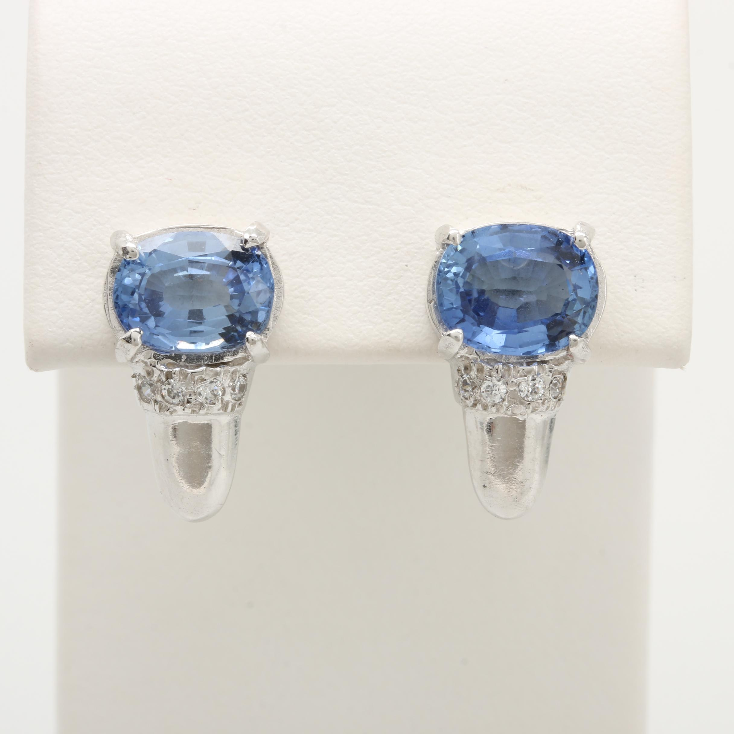 14K White Gold Synthetic Blue Sapphire and Cubic Zirconia Earrings