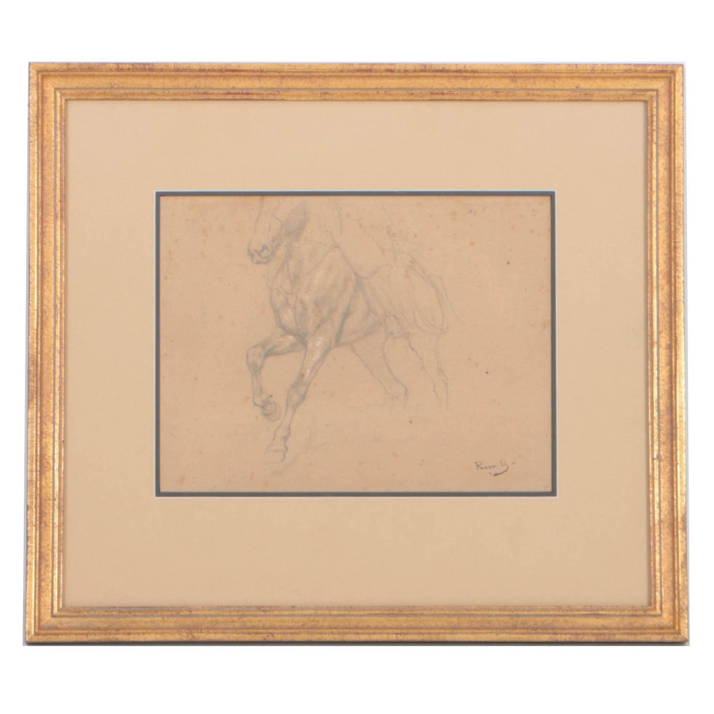 Rosa Bonheur Graphite Drawing Figure on Horseback