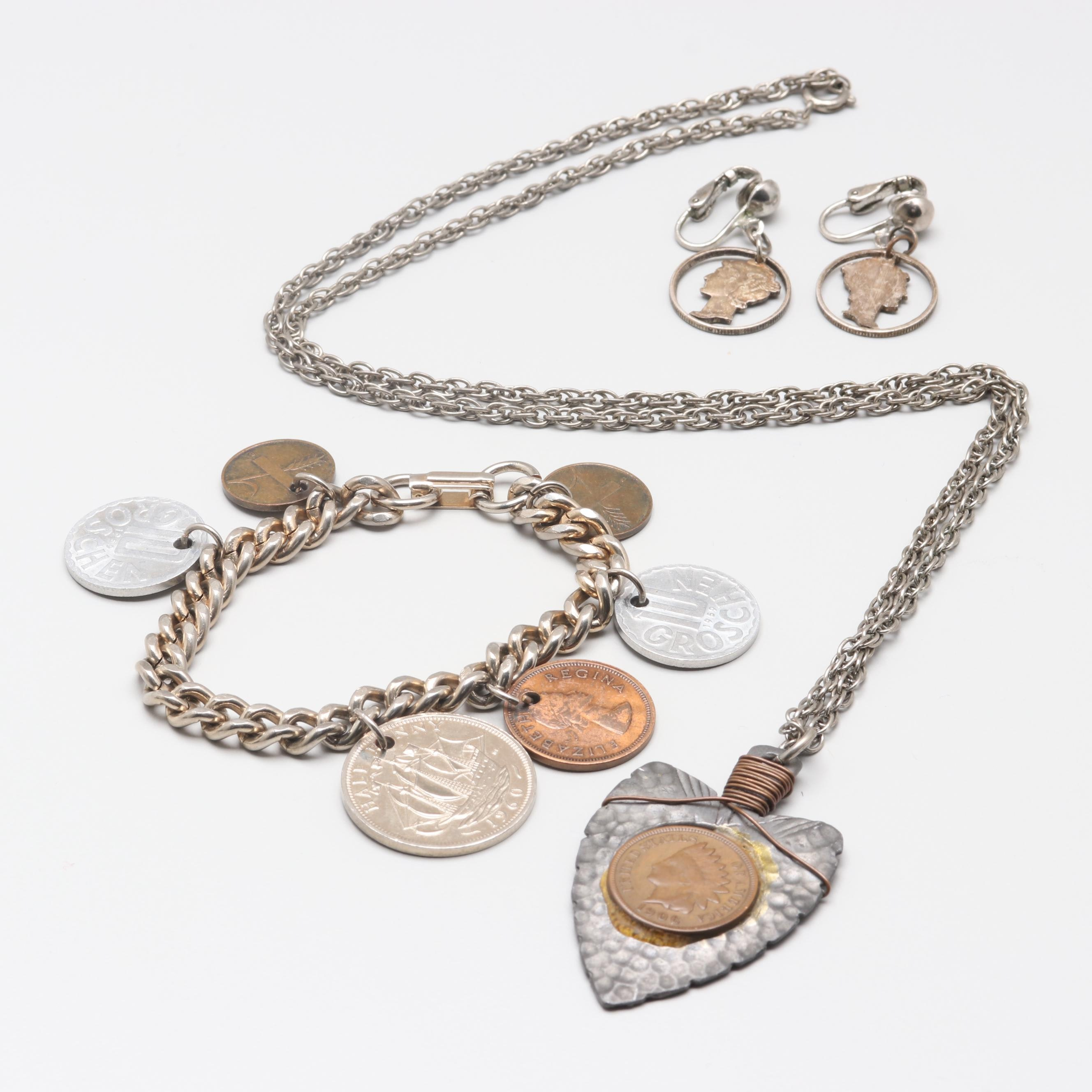 Assortment of Coin Themed Jewelry
