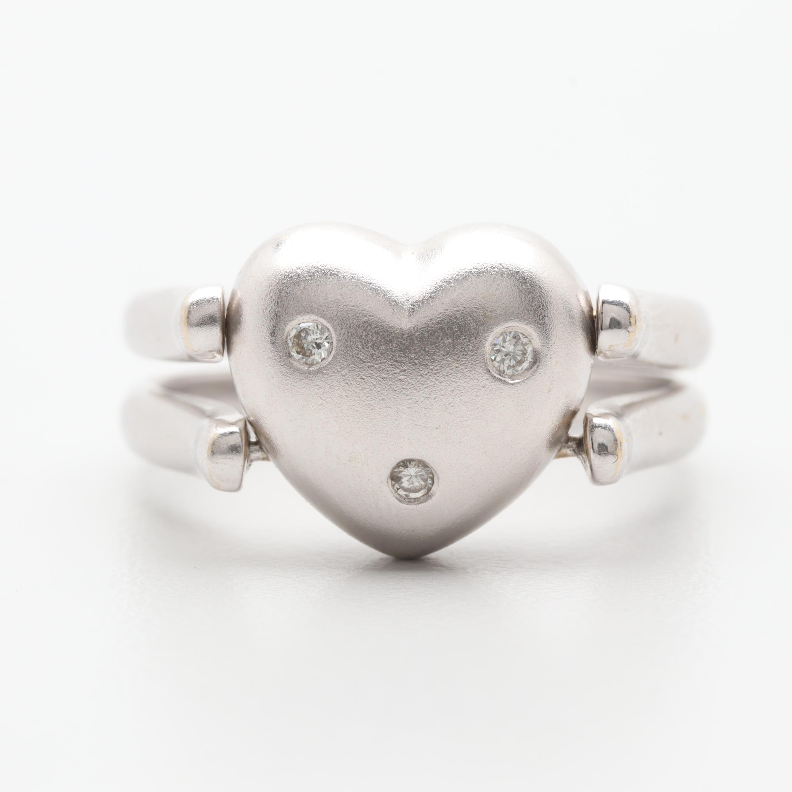 18K White Gold Diamond Reversible Articulated Heart Ring