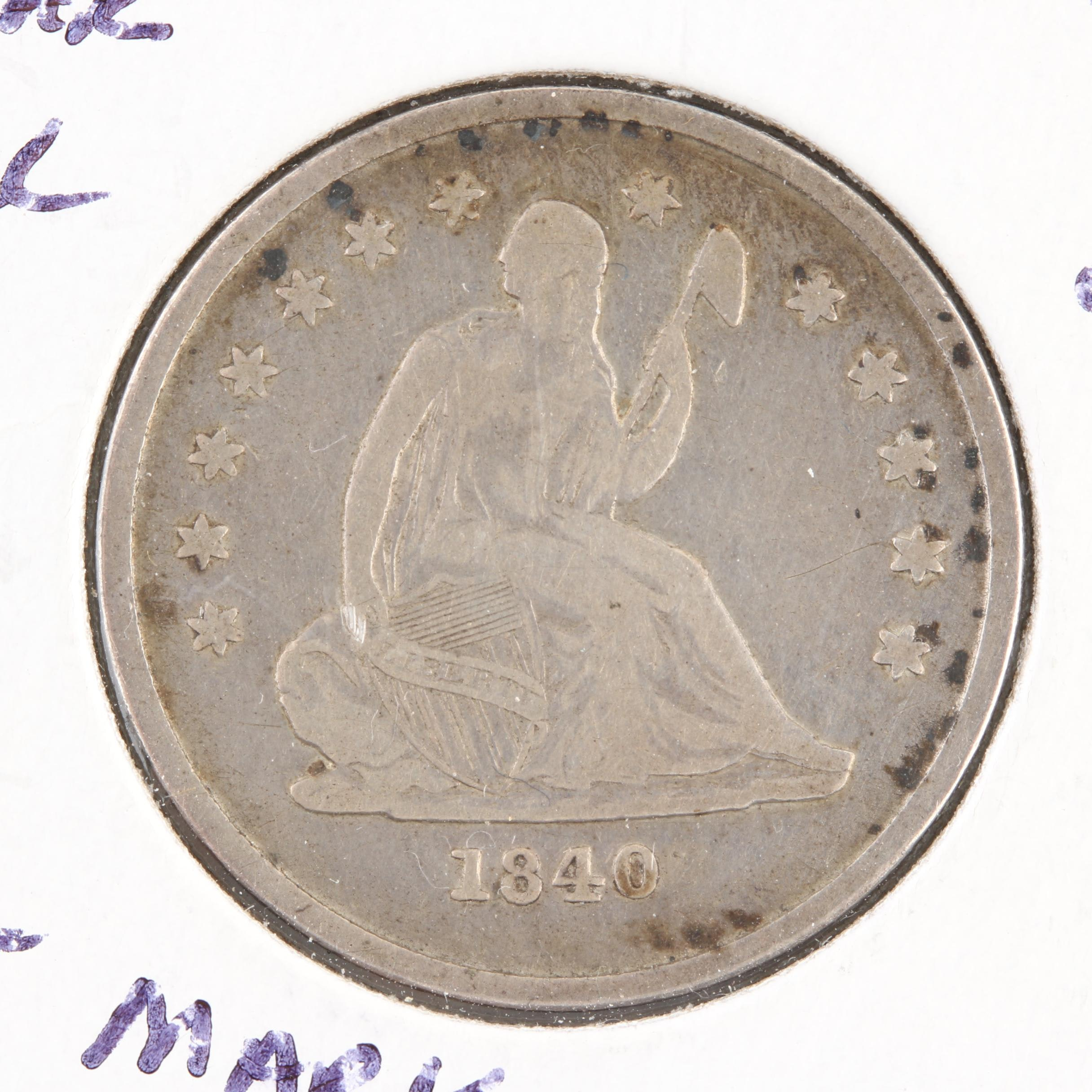 1840-O Liberty Seated Without Drapery Silver Quarter