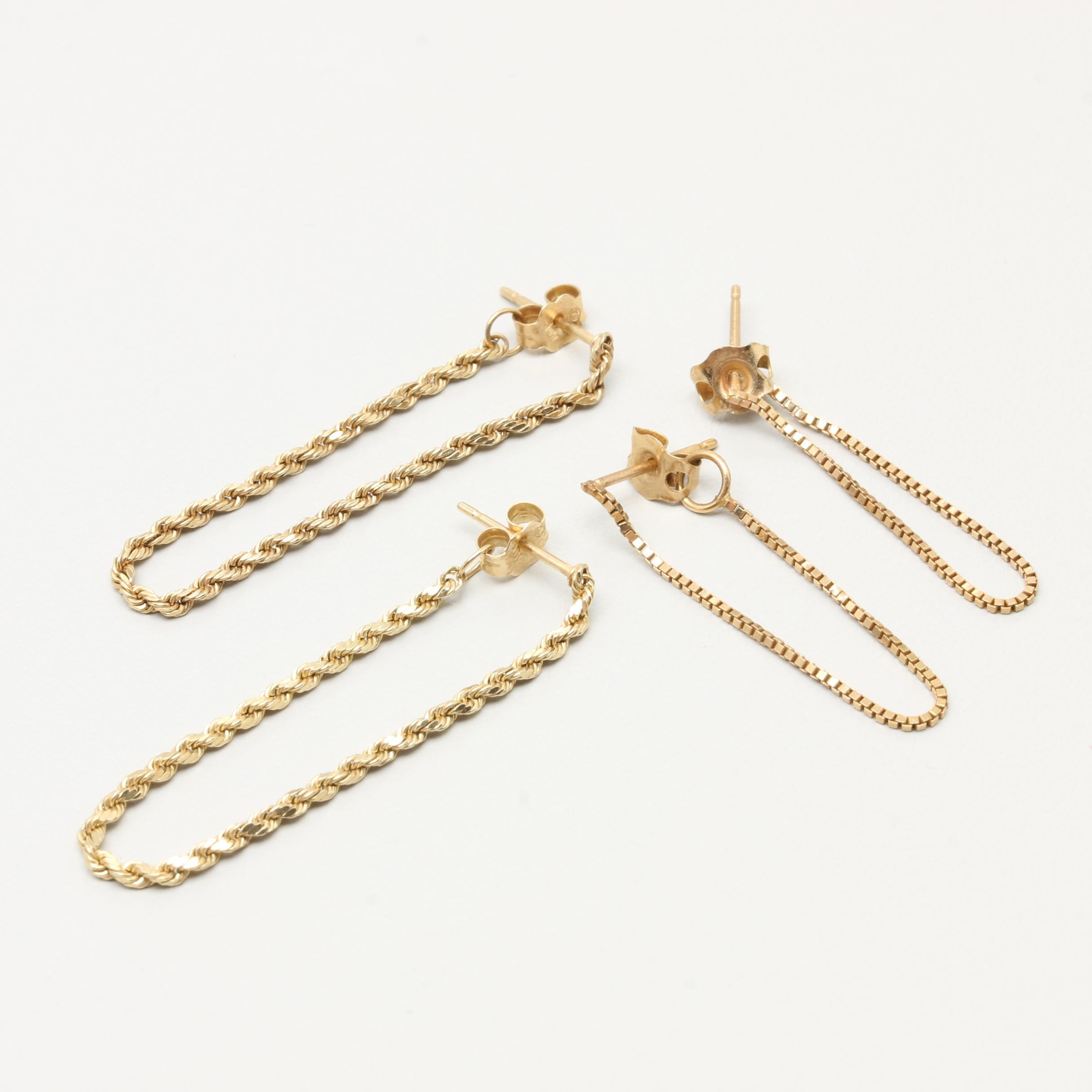 10K and 14K Yellow Gold Chain Hoop Earrings