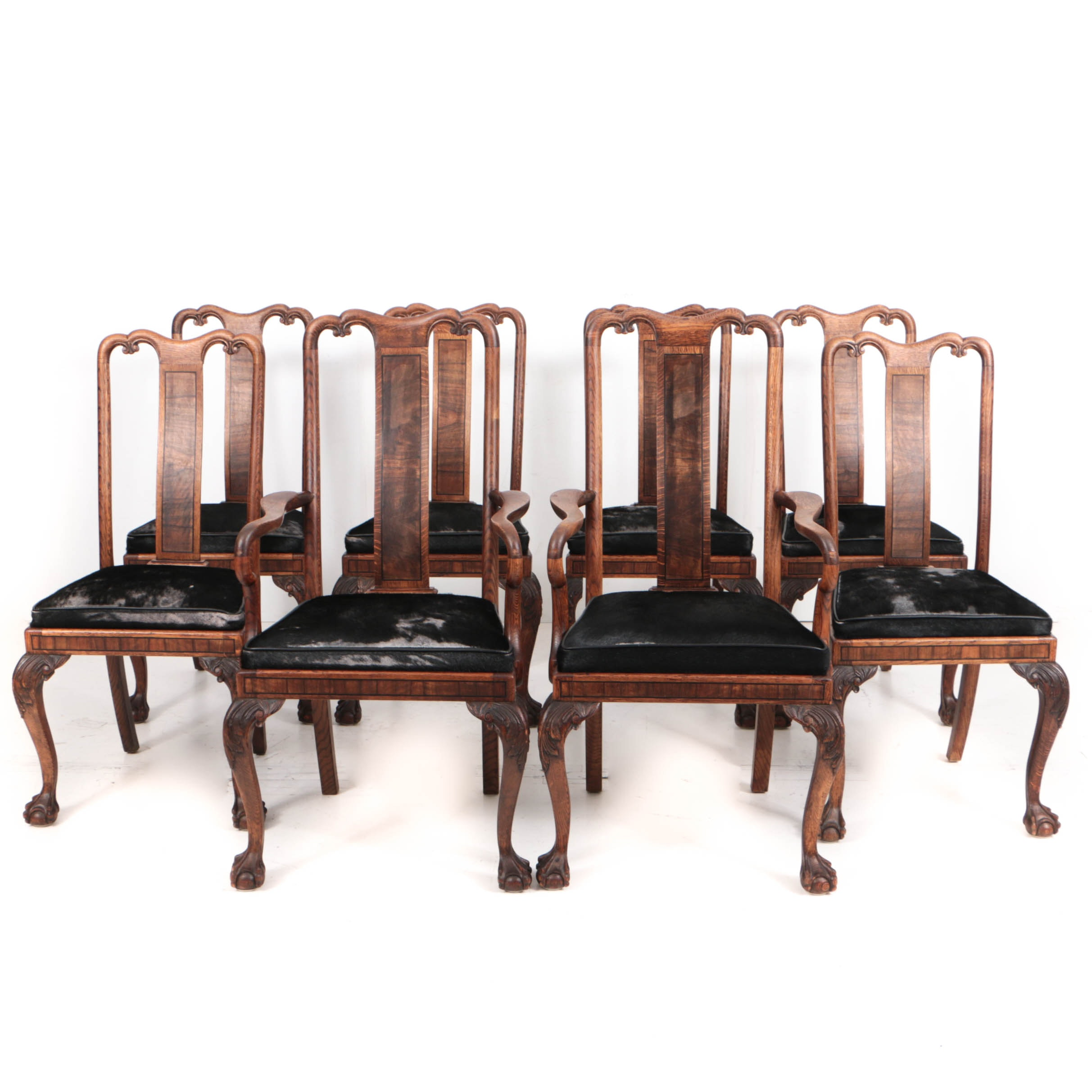 Eight George II Style Oak and Walnut Chairs with Hide Seats, 20th Century