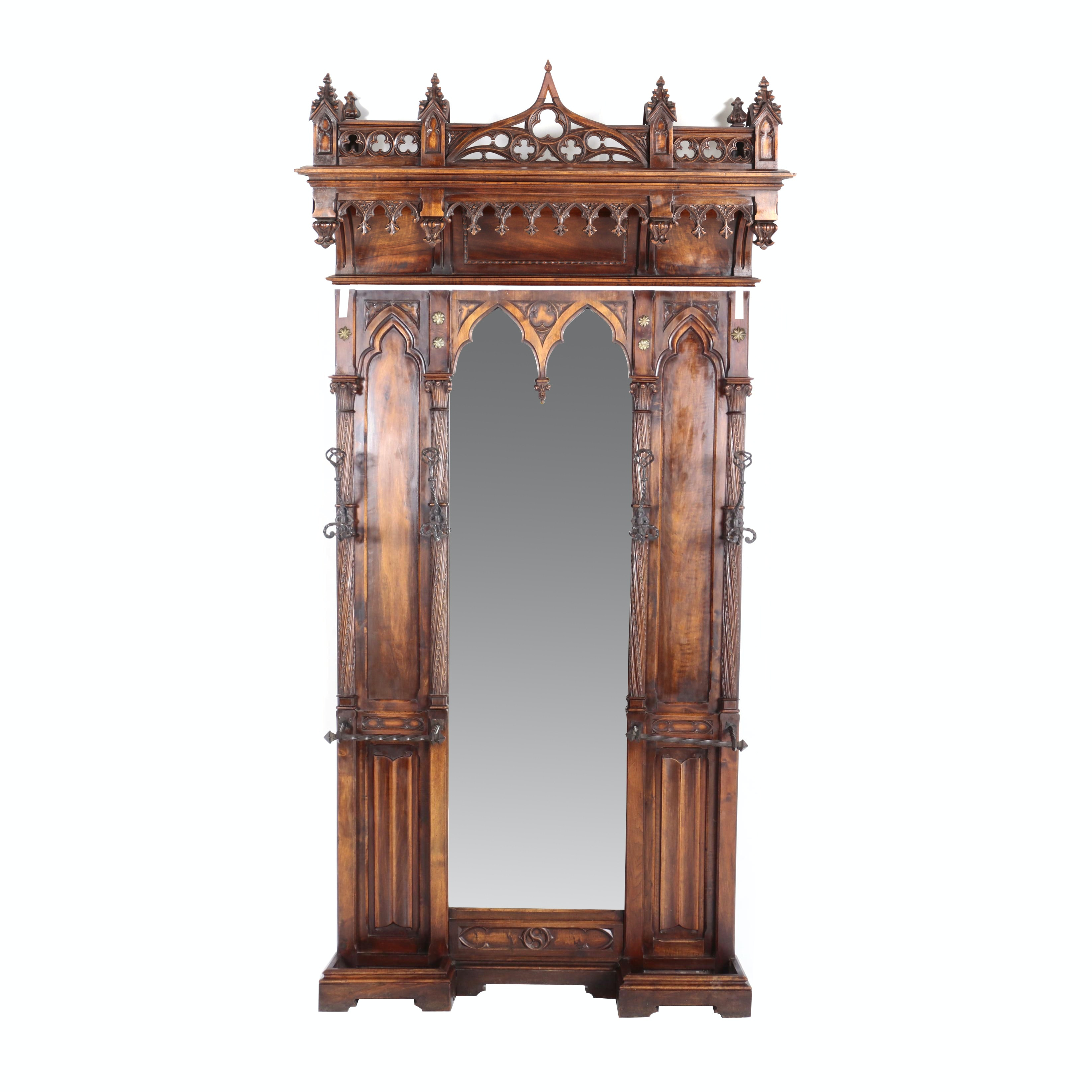 French Gothic Revival Brass- and Iron-Mounted Walnut Hall Stand